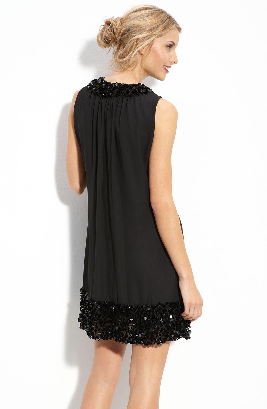 Alternate Image 2  - JS Boutique Paillette Trim Chiffon Trapeze Dress