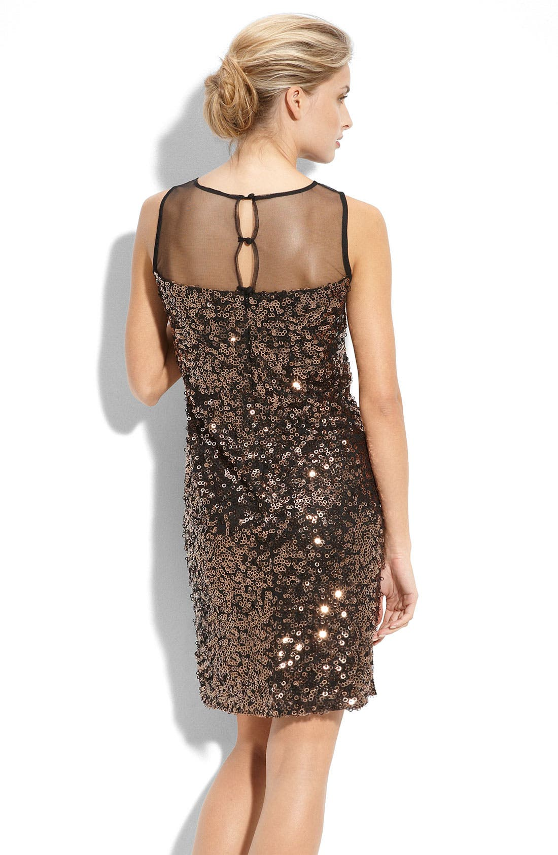 Illusion Bodice Sequin Dress,                             Alternate thumbnail 2, color,                             Copper