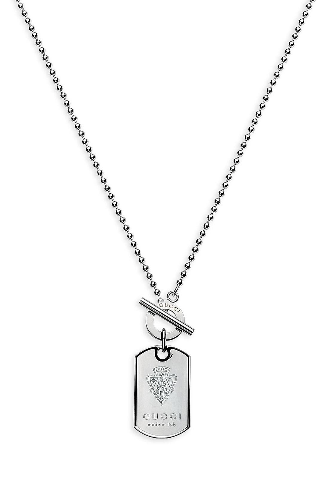 Main Image - Gucci 'Crest' Dog Tag Necklace