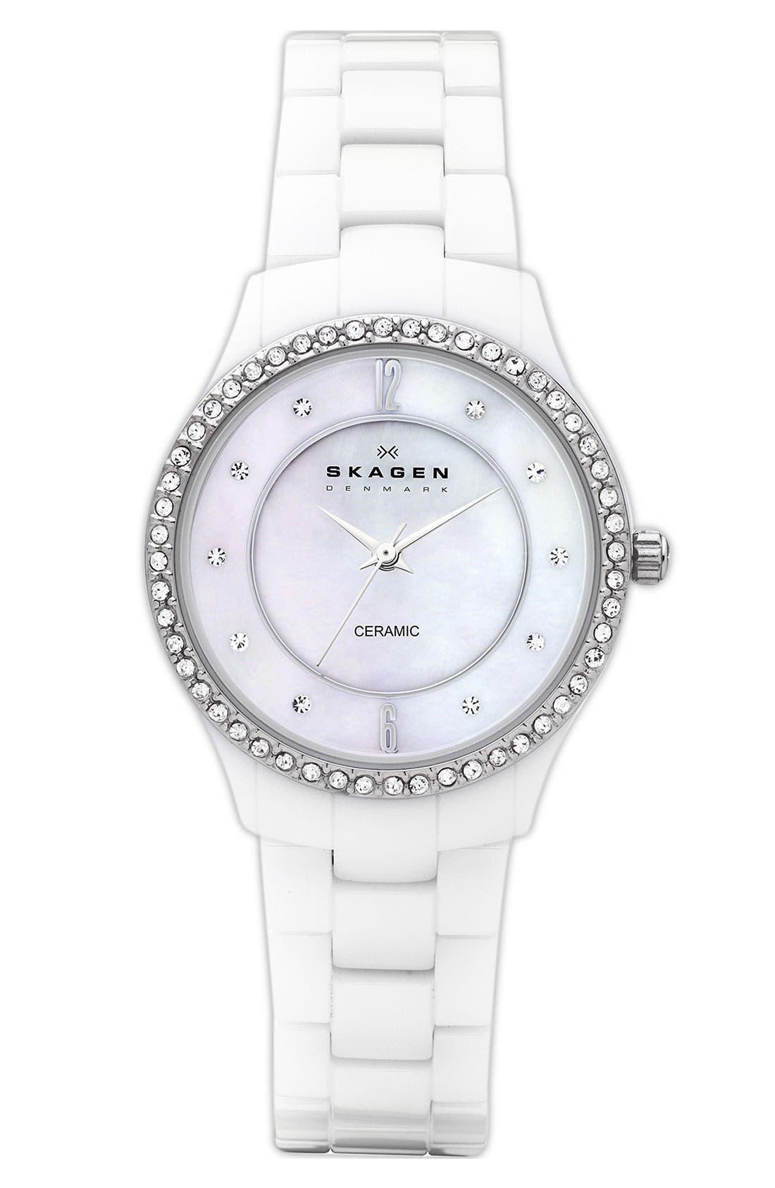 Main Image - Skagen 'Katja' Medium Crystal Bezel Ceramic Watch, 30mm