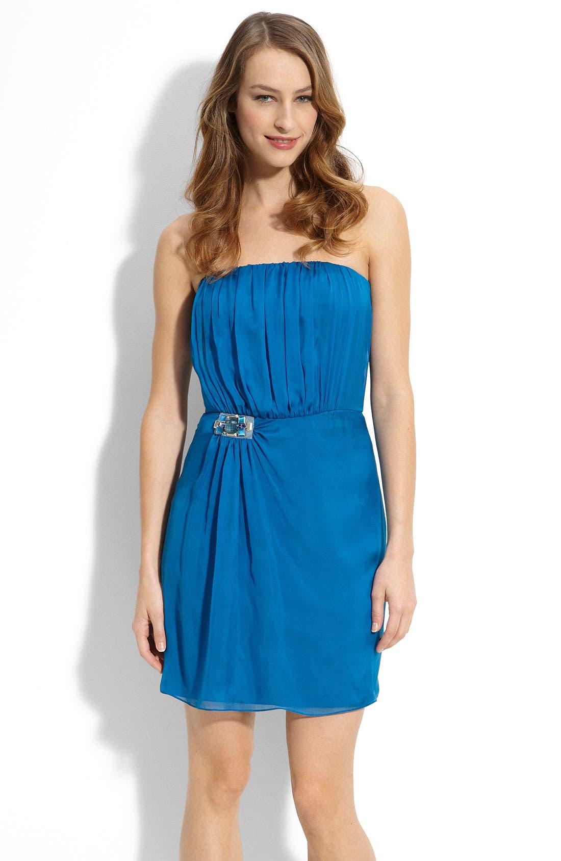 Main Image - MBN Jewel Waist Strapless Chiffon Dress