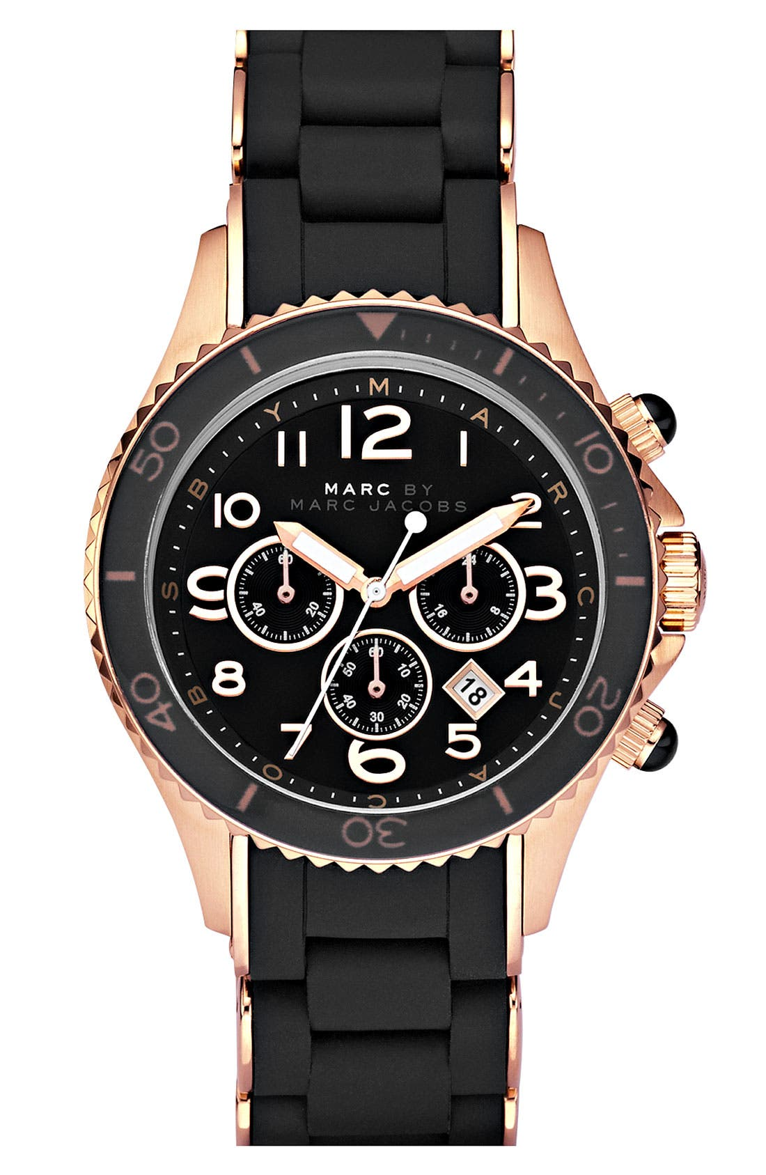 Alternate Image 1 Selected - MARC JACOBS 'Rock' Chronograph Silicone Bracelet Watch
