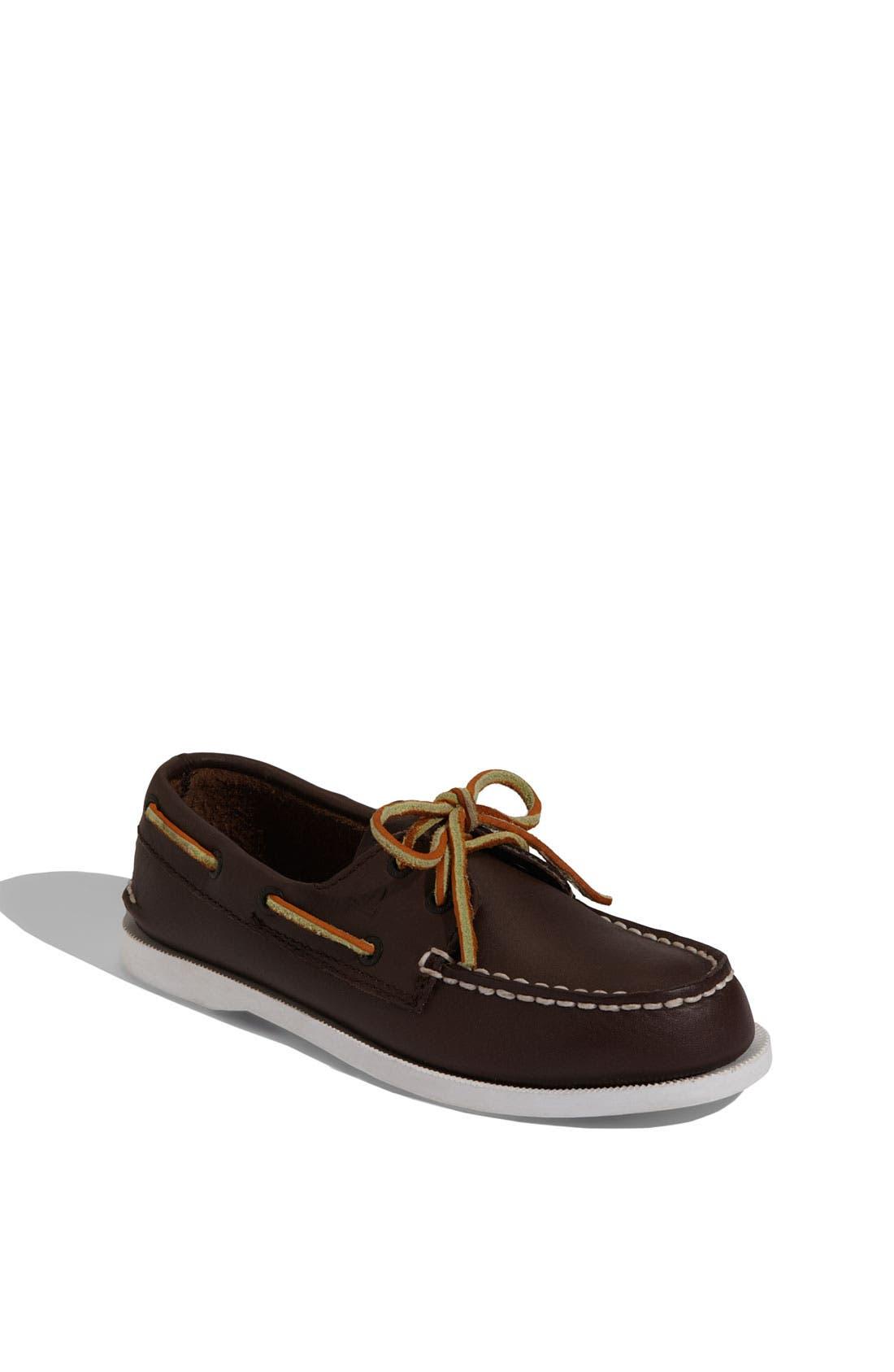 'Authentic Original' Boat Shoe,                             Main thumbnail 1, color,                             Brown Leather