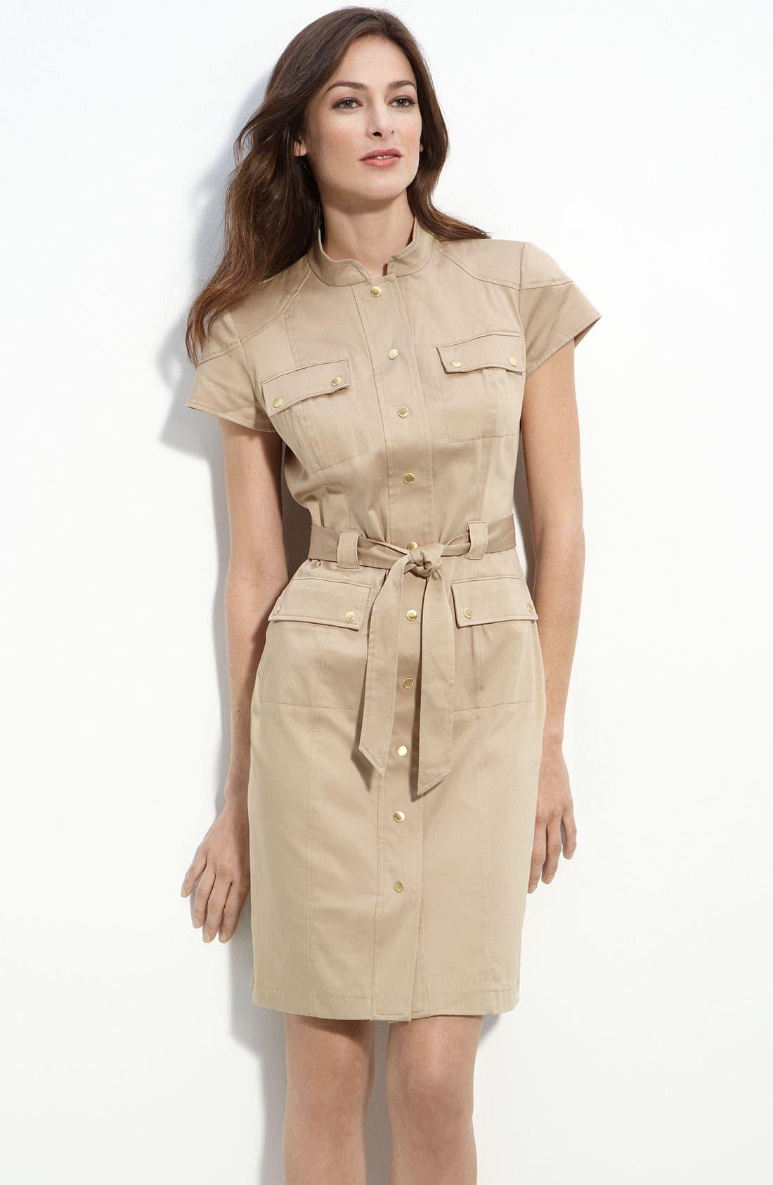 Alternate Image 1 Selected - Calvin Klein Stretch Cotton Shirtdress