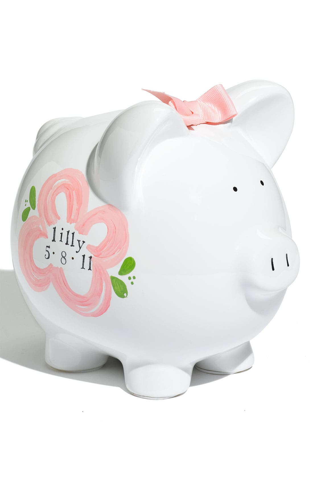 Personalized Piggy Bank,                         Main,                         color, Pink/ White