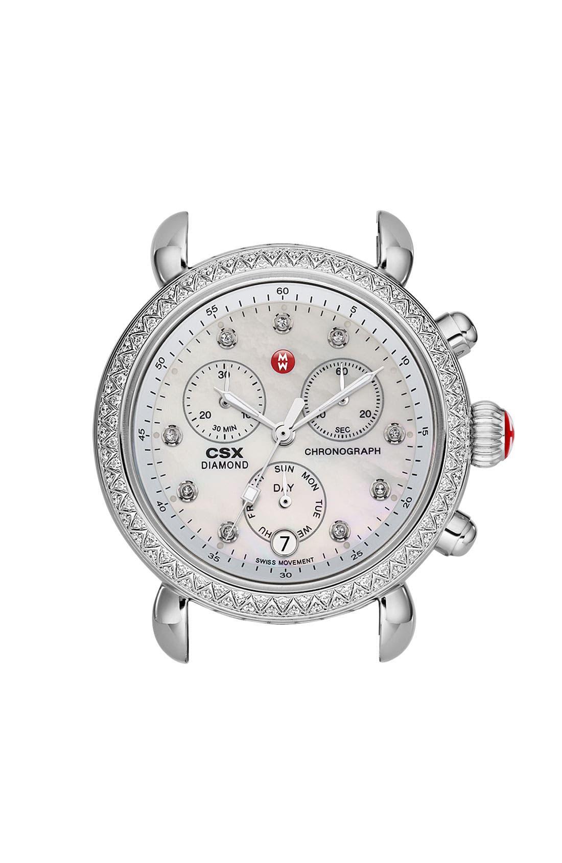 'CSX-36 Diamond' Diamond Dial Two Tone Watch Case, 36mm,                         Main,                         color, Silver