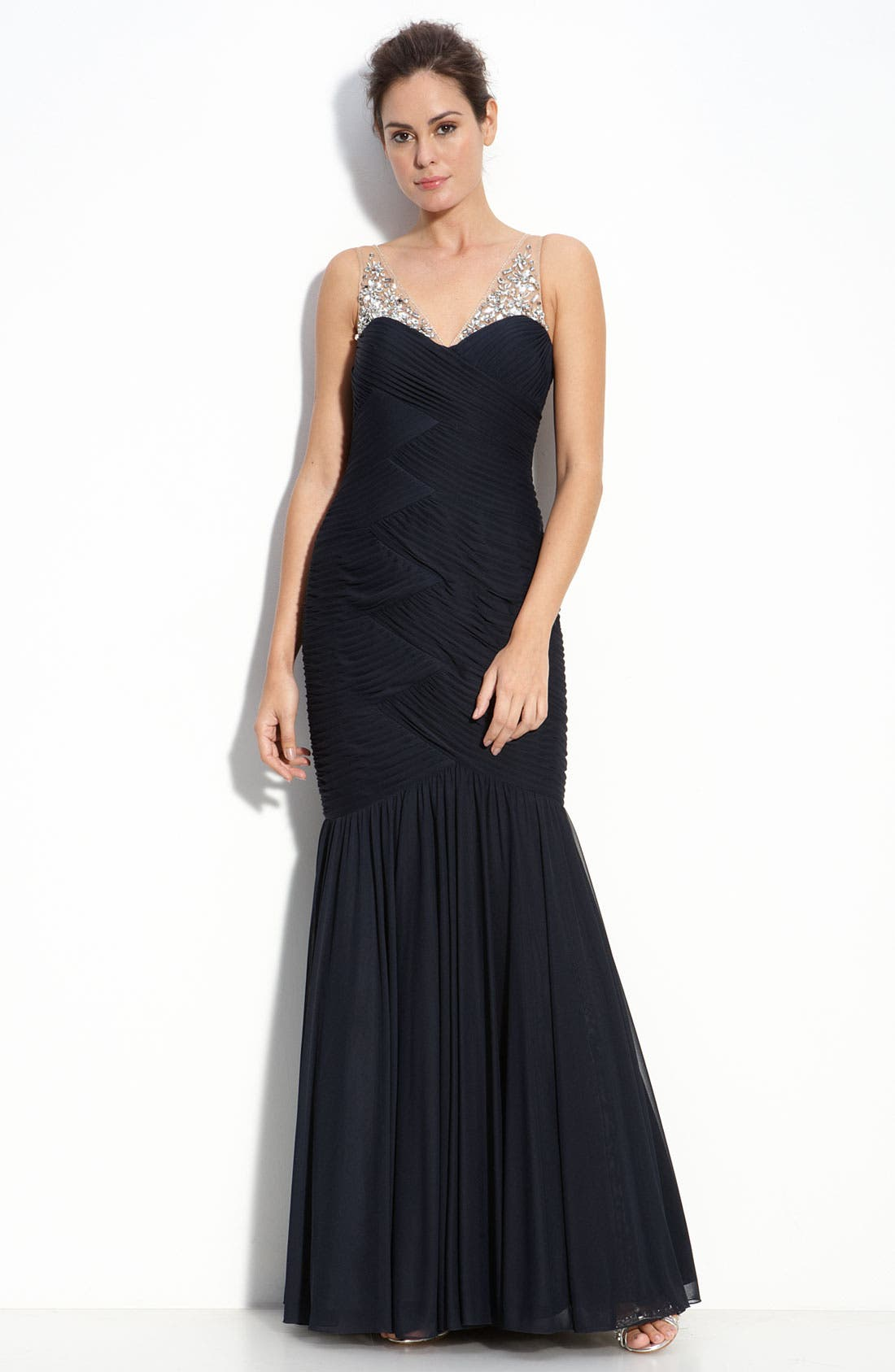 Alternate Image 1 Selected - Adrianna Papell Illusion Bodice Chiffon Mermaid Gown