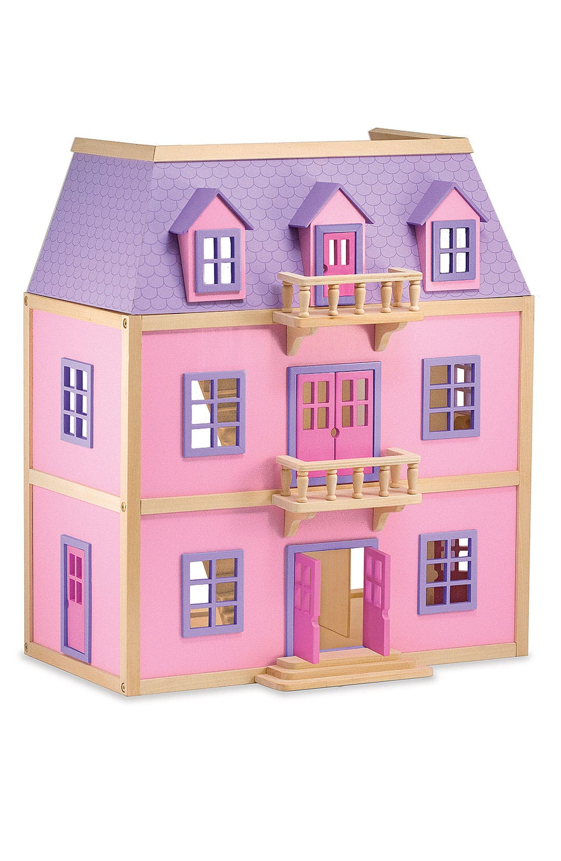 Wooden Dollhouse,                         Main,                         color, Pink