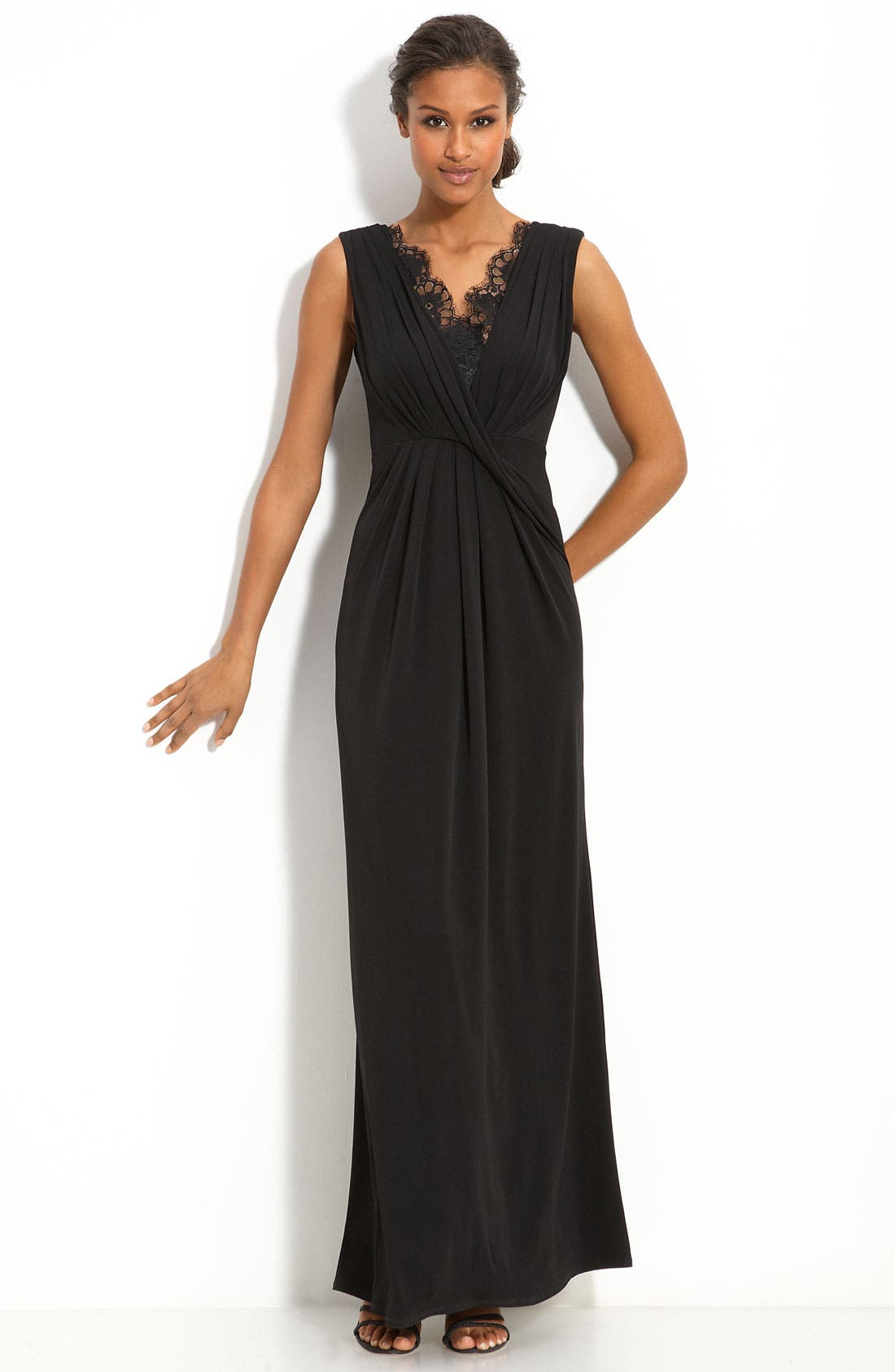 Main Image - Max & Cleo Lace Inset Jersey Gown