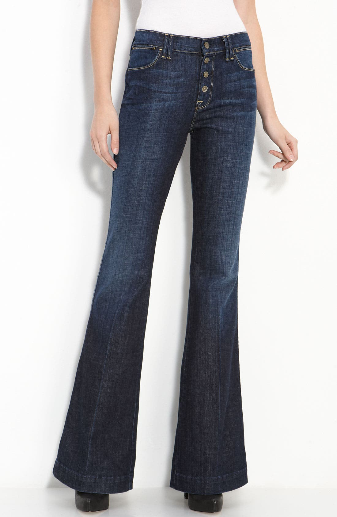 Main Image - 7 For All Mankind® 'Bianca' Flare Leg Stretch Jeans (Los Angeles Dark Wash)
