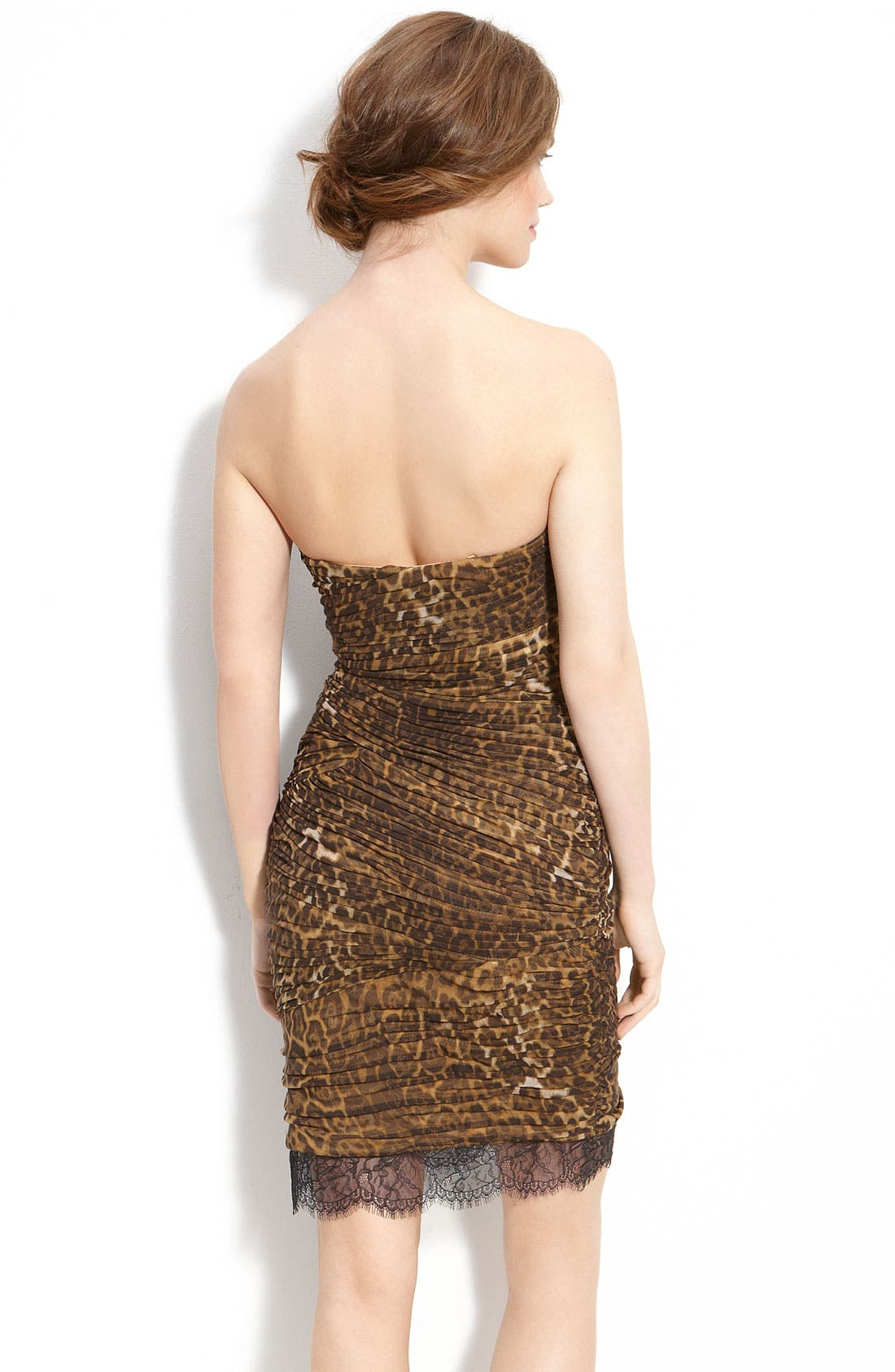 Alternate Image 2  - BCBGMAXAZRIA Strapless Leopard Print Mesh Dress