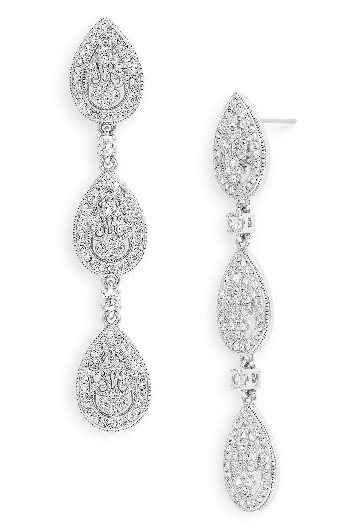 Main Image - Nadri Crystal Teardrop Linear Earrings