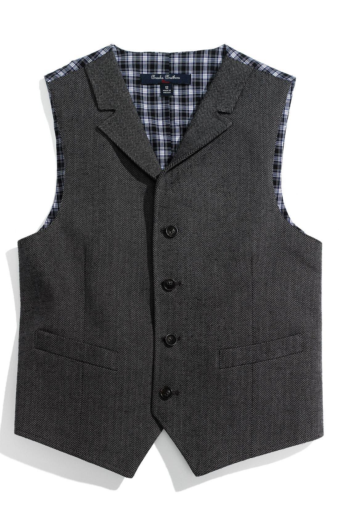 Main Image - Brooks Brothers Herringbone Vest (Big Boys)