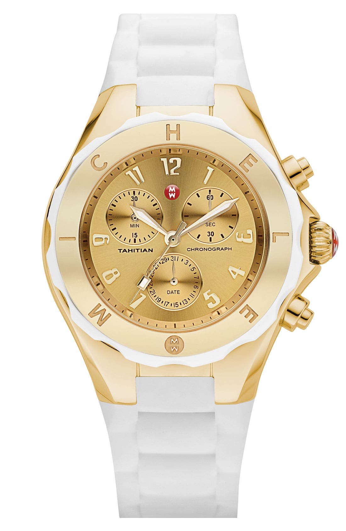 Alternate Image 1 Selected - MICHELE 'Tahitian Jelly Bean' Gold Plated Watch, 40mm