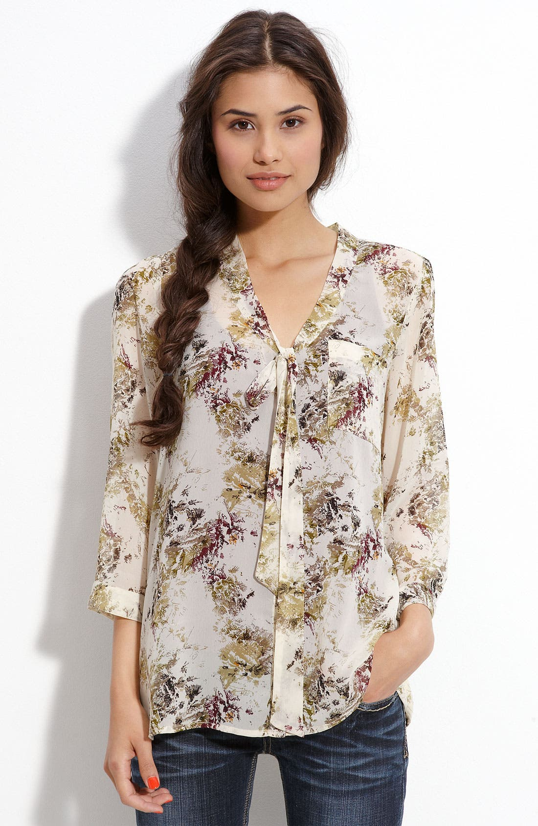 Main Image - Frenchi® Tie Front Floral Print Blouse (Juniors)