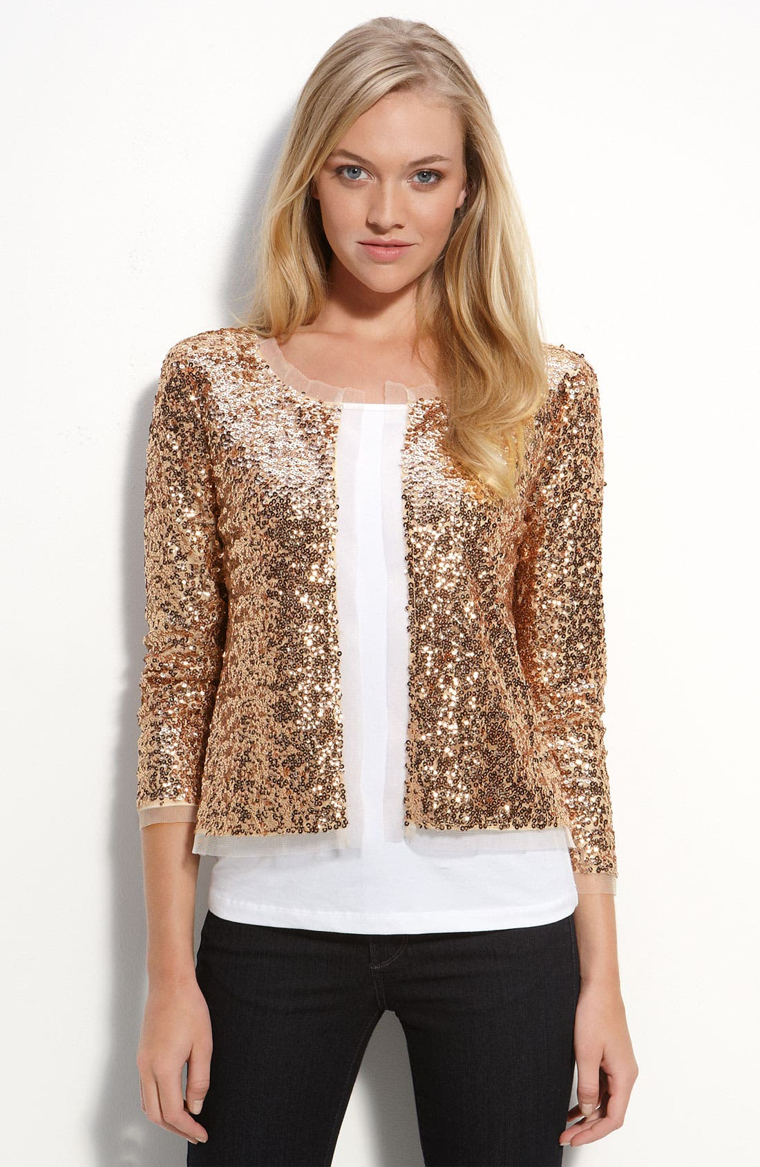 Sequin Jacket,                         Main,                         color, Gold