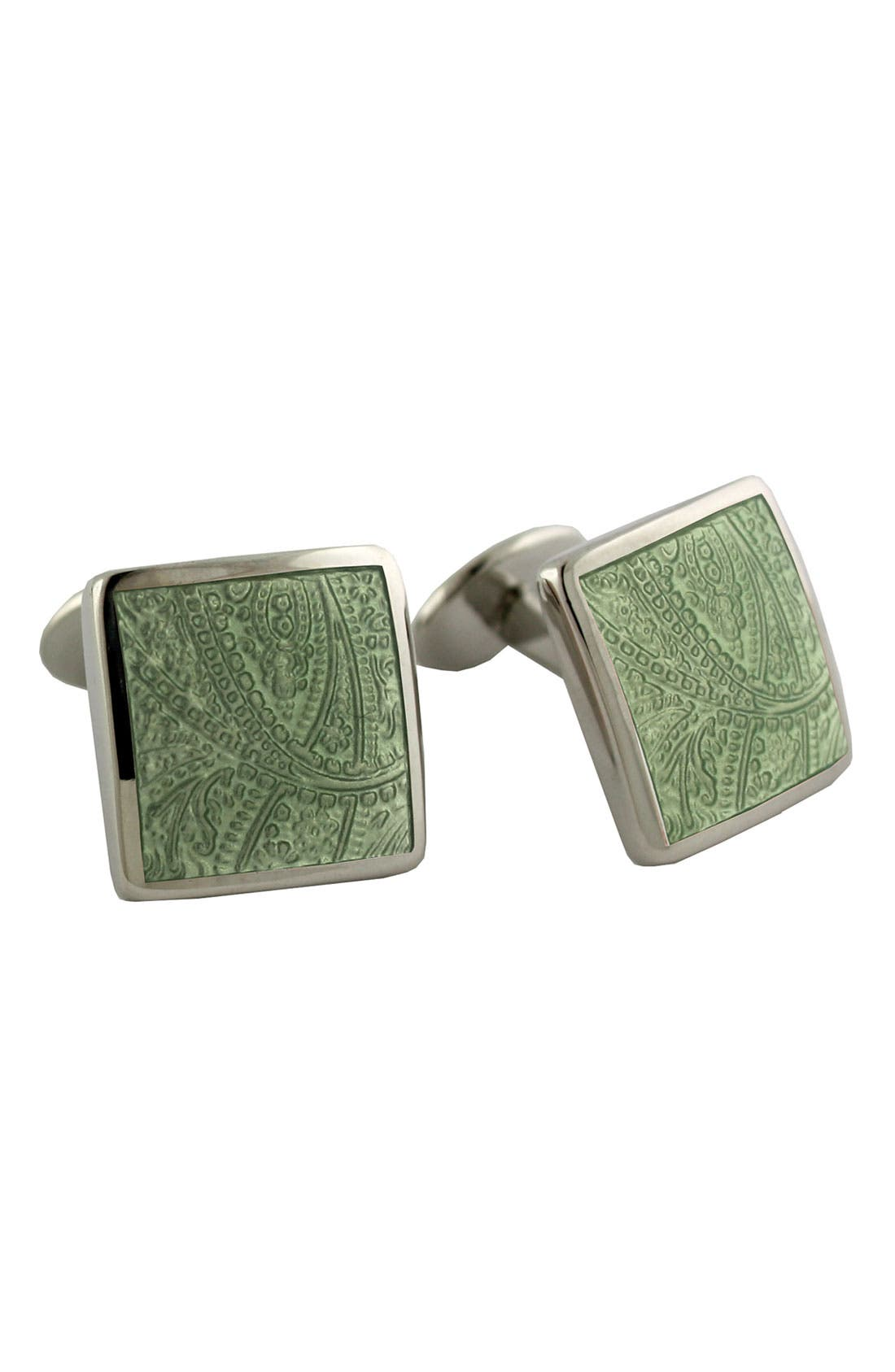 'Paisley Lime' Sterling Silver Cuff Links,                         Main,                         color, Lime