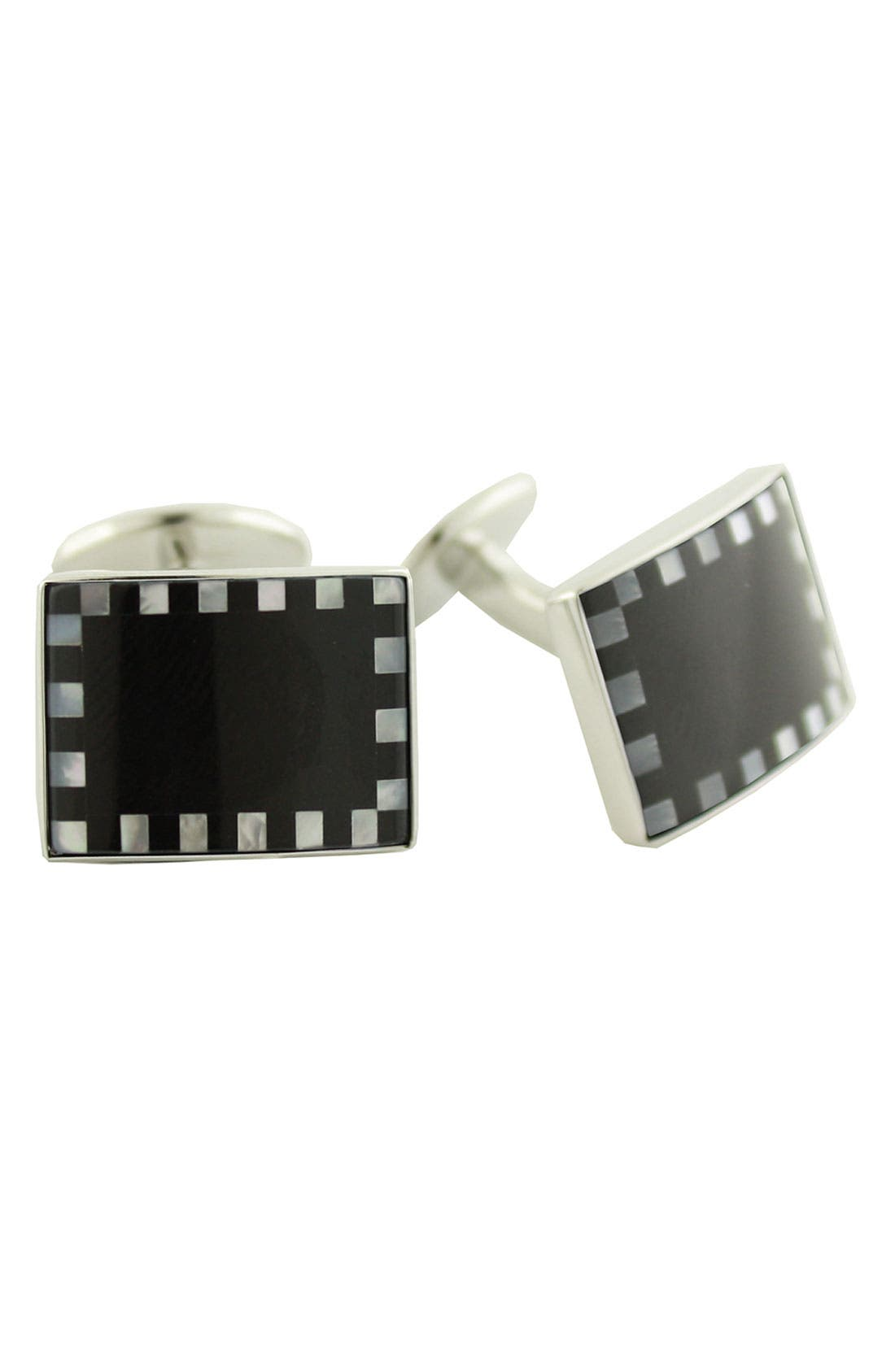 Sterling, Onyx & Mother-of-Pearl Cuff Links,                         Main,                         color, Black/ White