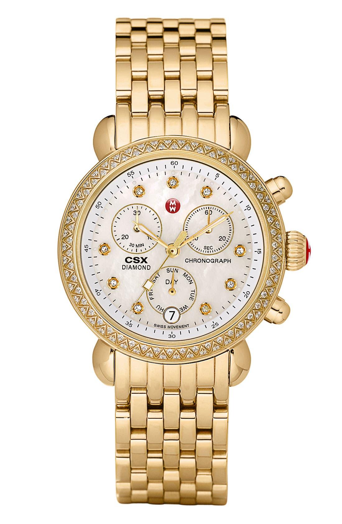 Alternate Image 2  - MICHELE 'CSX-36 Diamond' Diamond Dial Gold Plated Watch Case, 36mm