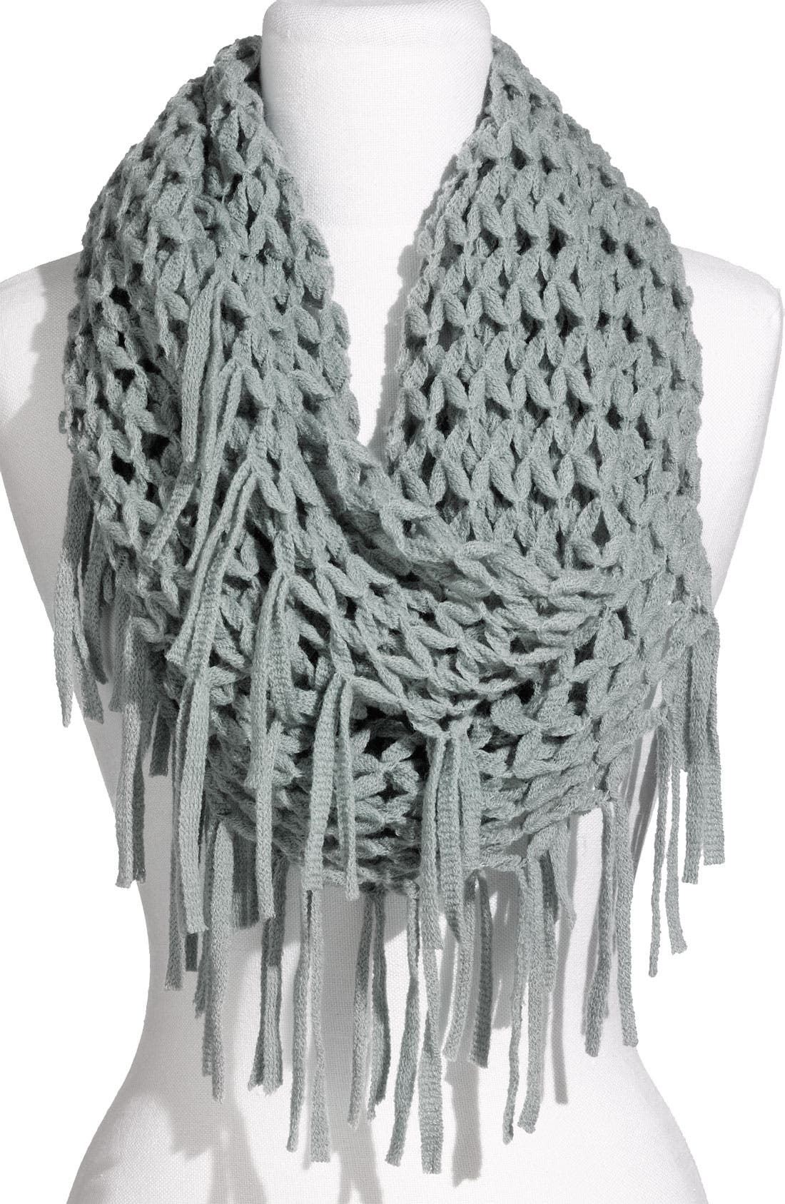Airy Woven Fringed Infinity Scarf,                         Main,                         color, Blue