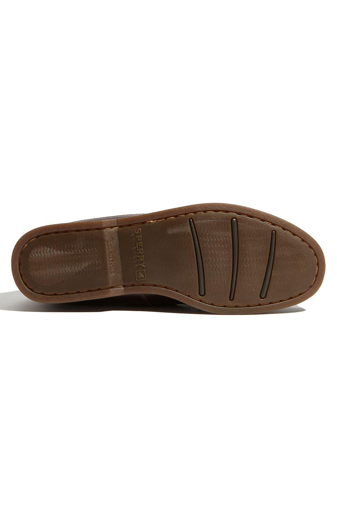 Top-Sider<sup>®</sup> 'Mako Two-Eye Canoe Moc' Boat Shoe,                             Alternate thumbnail 4, color,                             Dark Brown