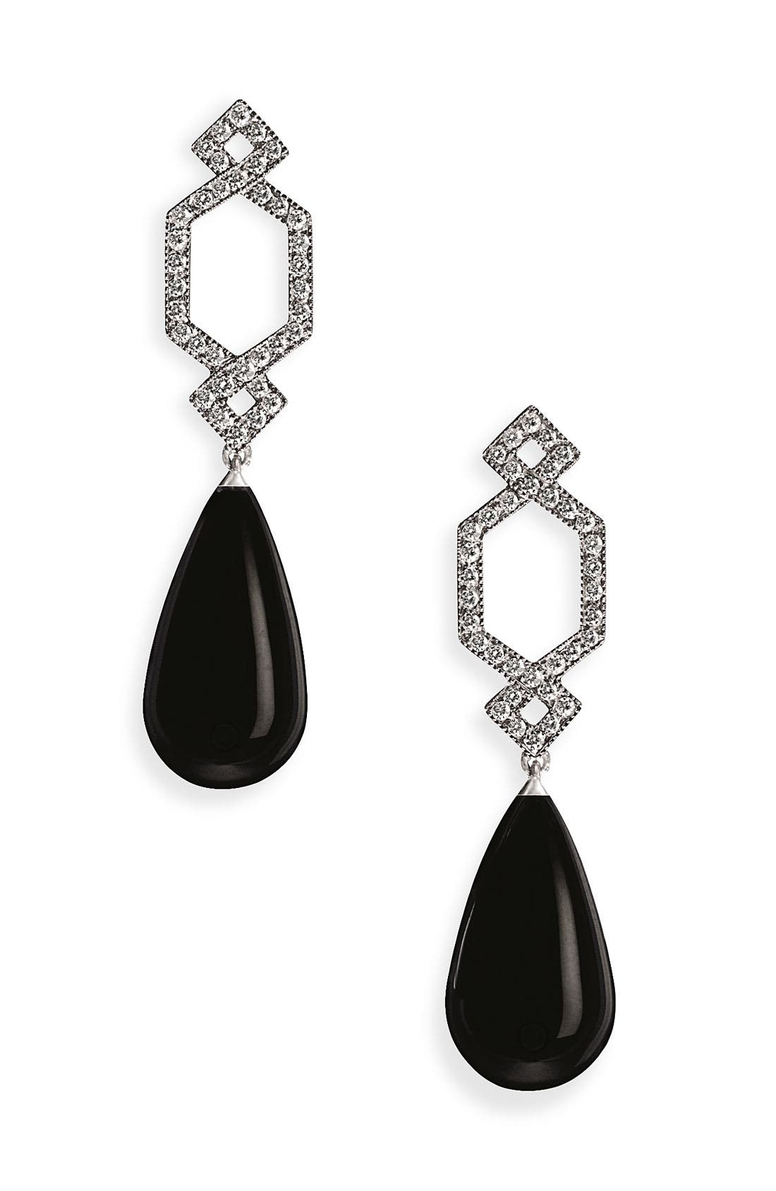 Alternate Image 1 Selected - Ivanka Trump 'Black & White' Onyx & Diamond Crossover Earrings