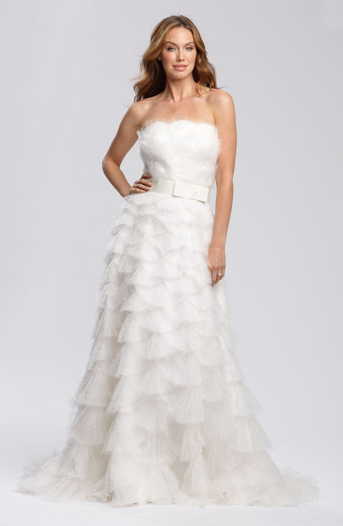 Alternate Image 1 Selected - Tadashi Shoji Tiered Tulle & Organza Gown