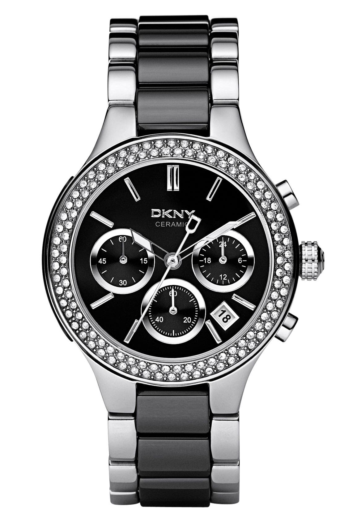 Main Image - DKNY 'Chambers' Ceramic & Stainless Steel Crystal Bezel Watch, 38mm