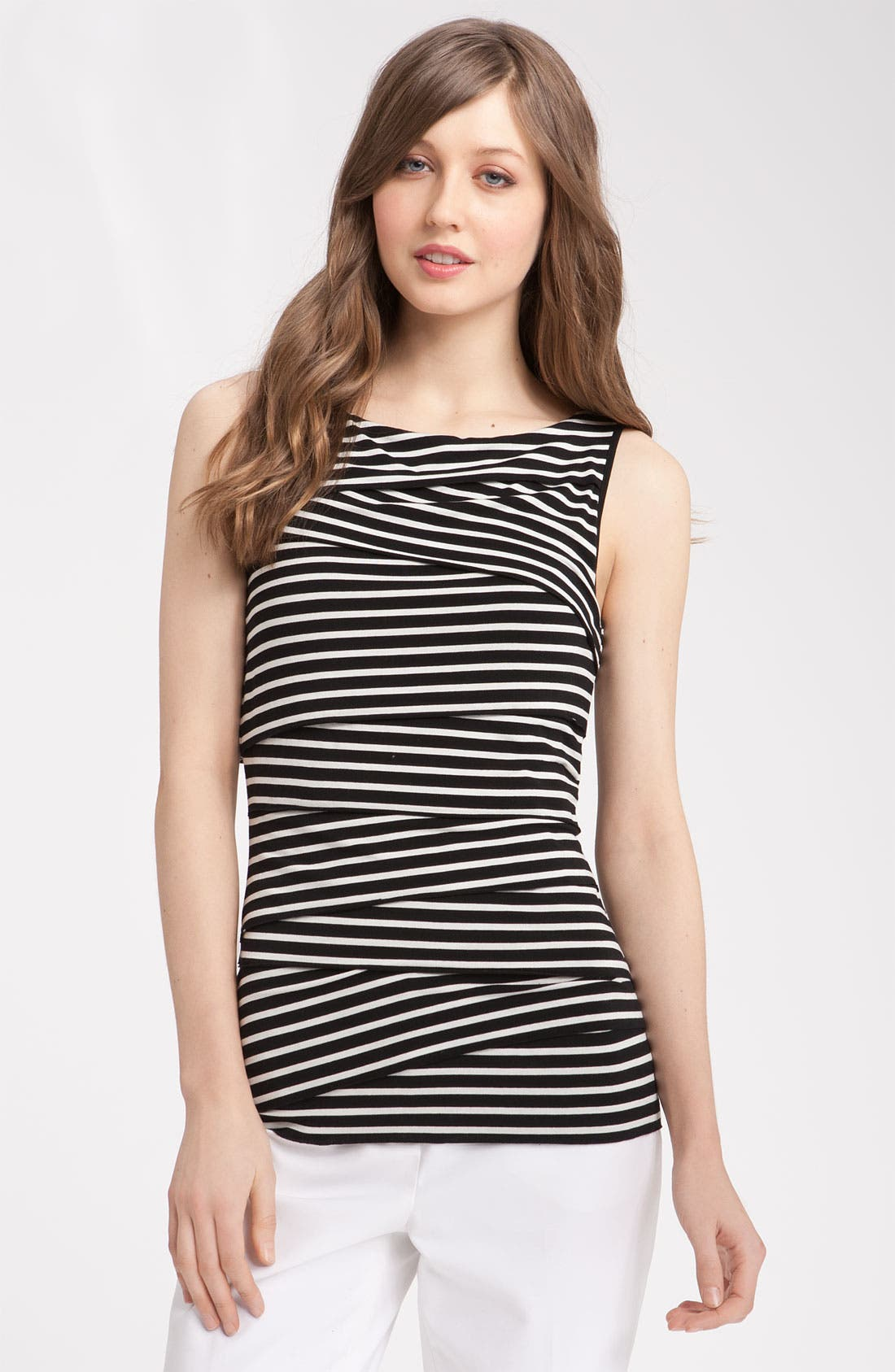 Alternate Image 1 Selected - Vince Camuto Tiered Stripe Jersey Top