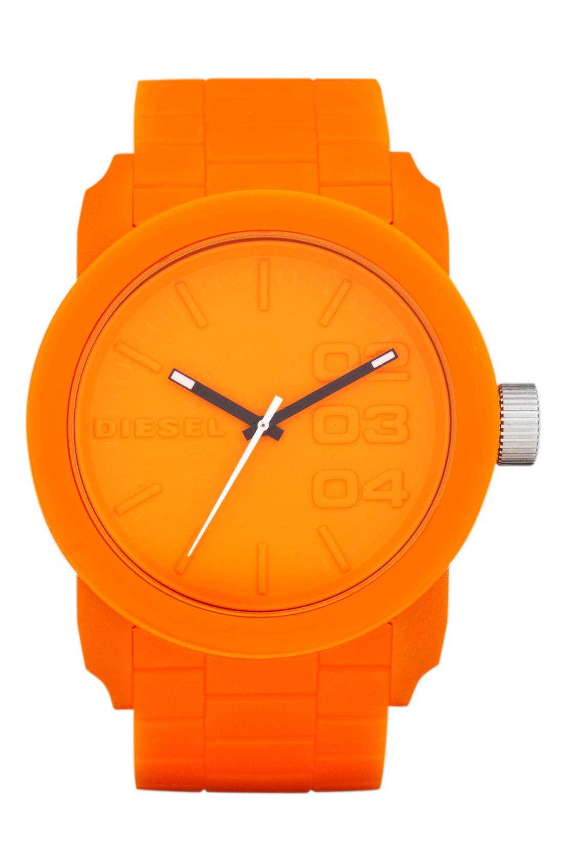 Main Image - DIESEL® 'Double Down' Round Silicone Strap Watch, 44mm