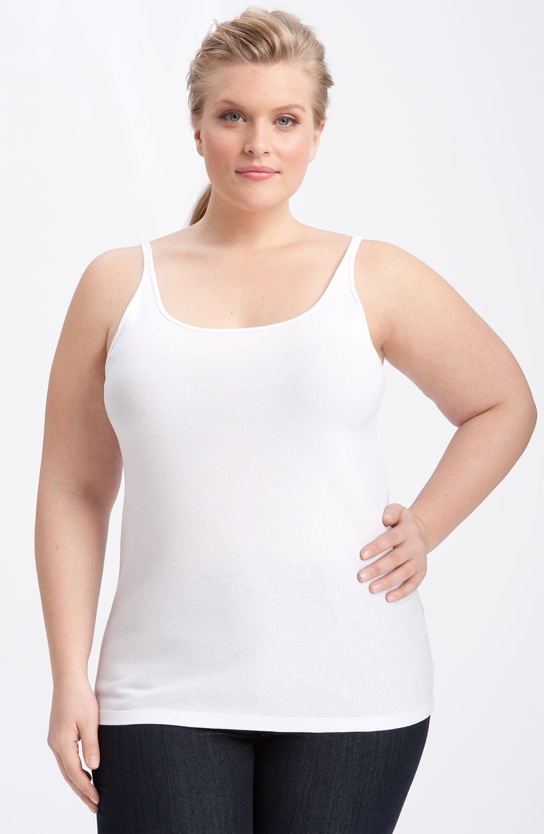 Alternate Image 1 Selected - Eileen Fisher Scoop Neck Camisole (Plus)