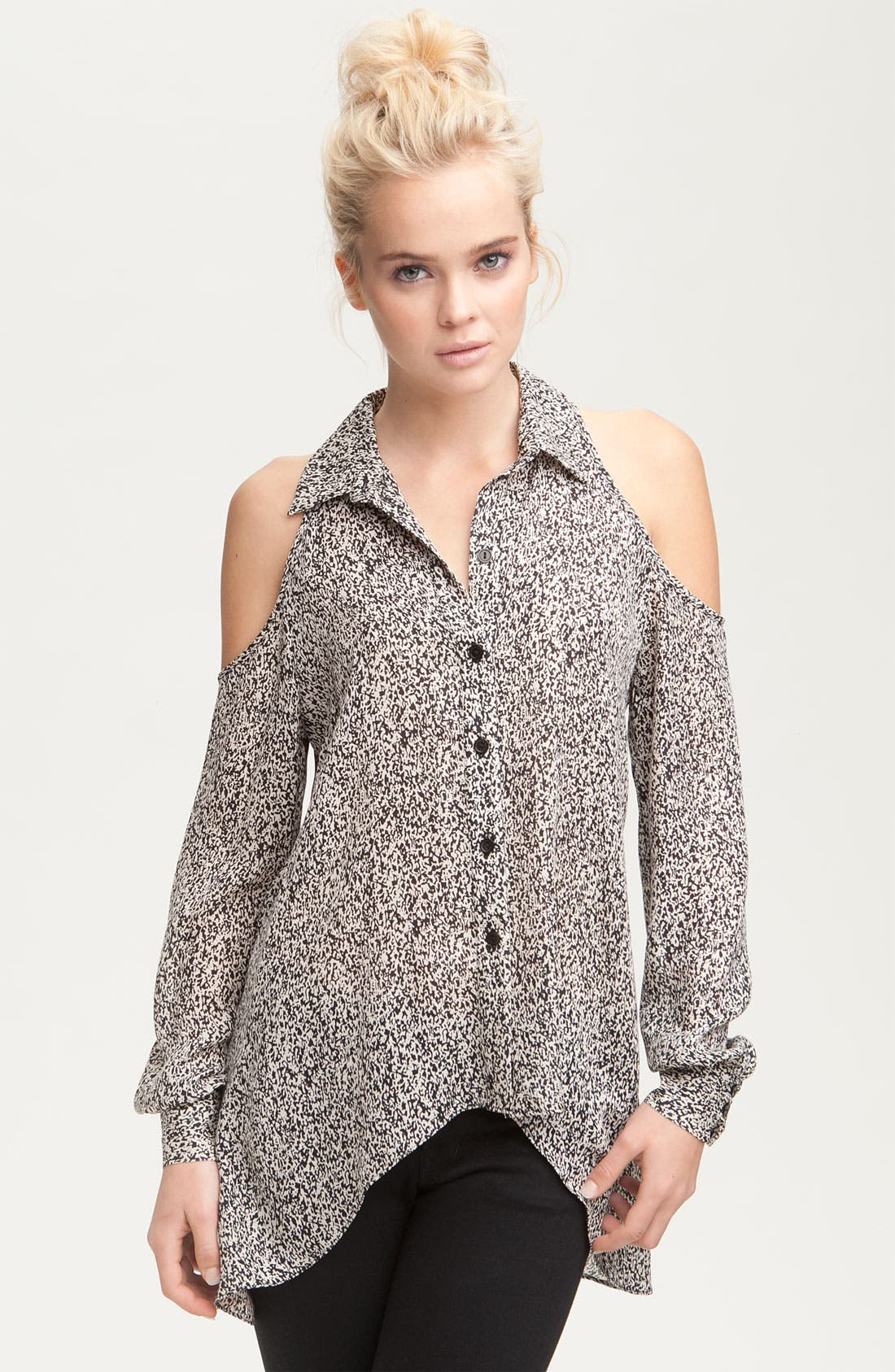 Main Image - Parker Print Silk Cutout Shoulder Shirt