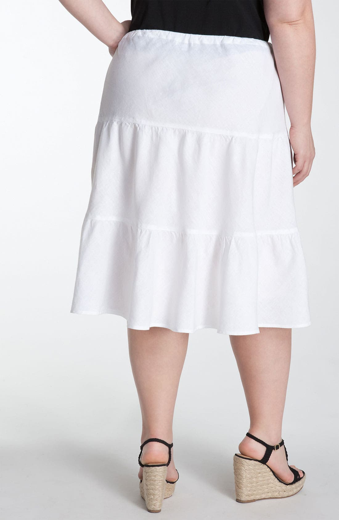 Alternate Image 2  - Allen Allen Tiered Linen Skirt (Plus)