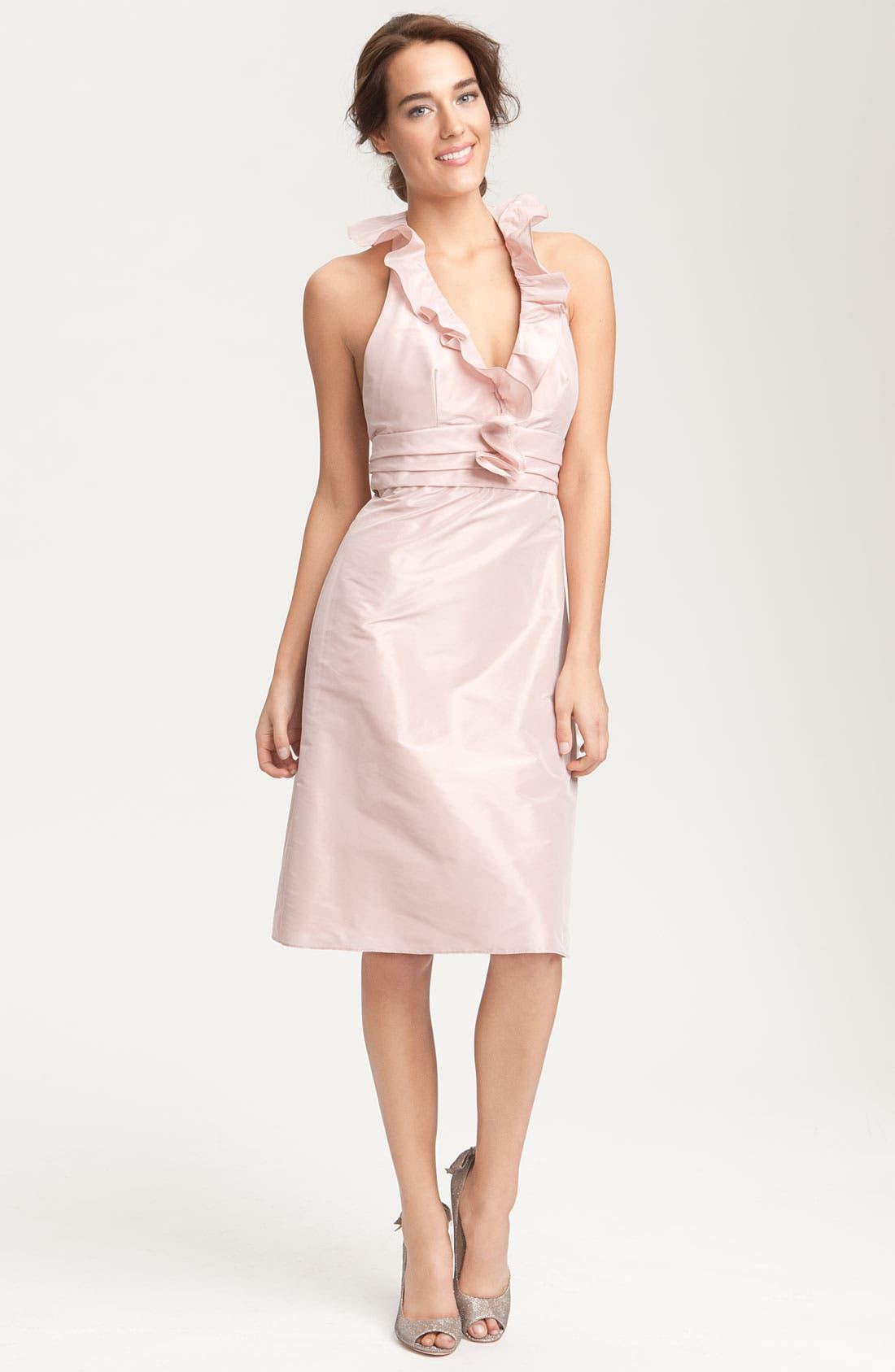 Alternate Image 1 Selected - Amsale Ruffle Taffeta Halter Dress