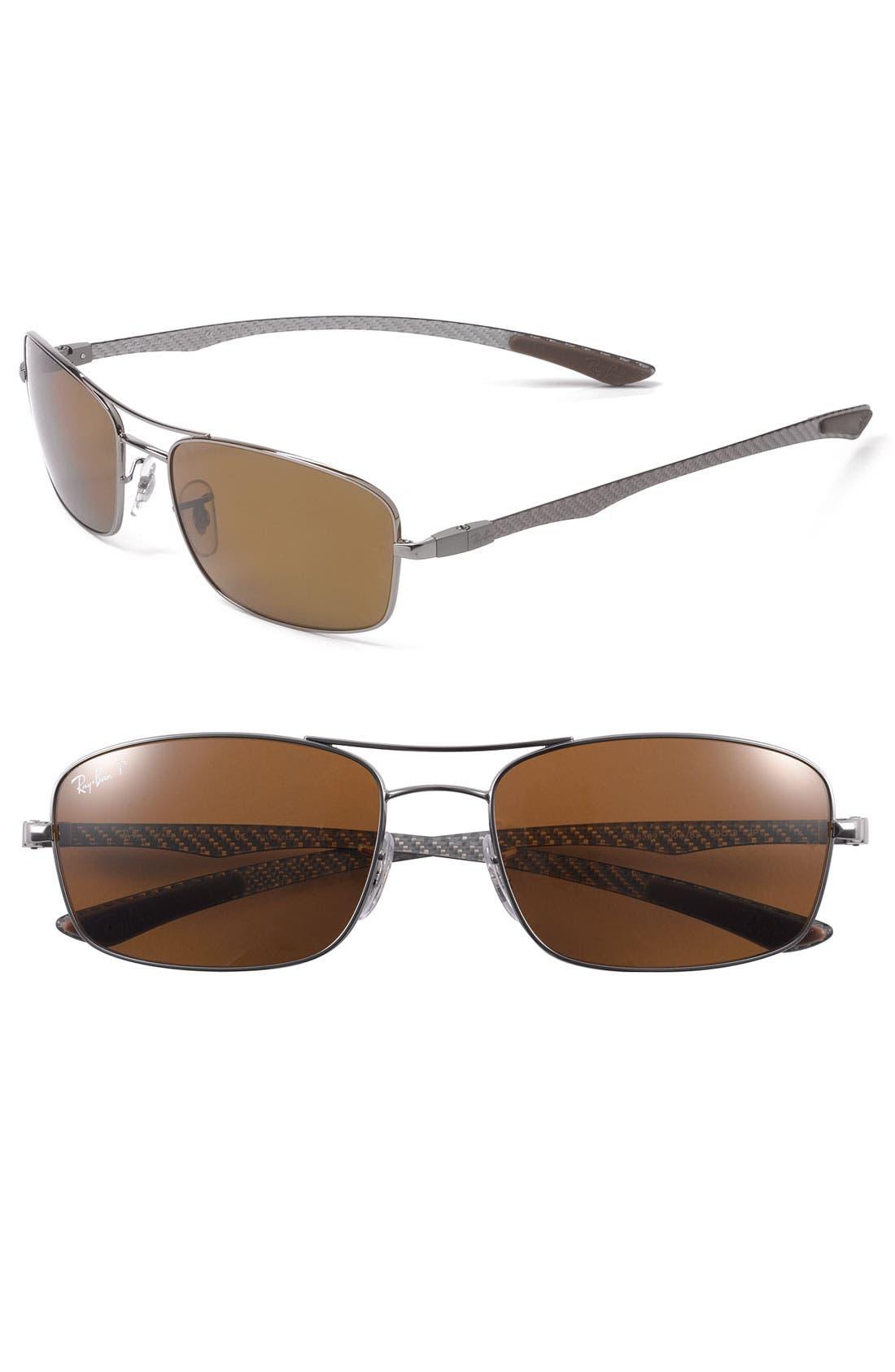 Main Image - Ray-Ban 59mm Polarized Double Bridge Sunglasses
