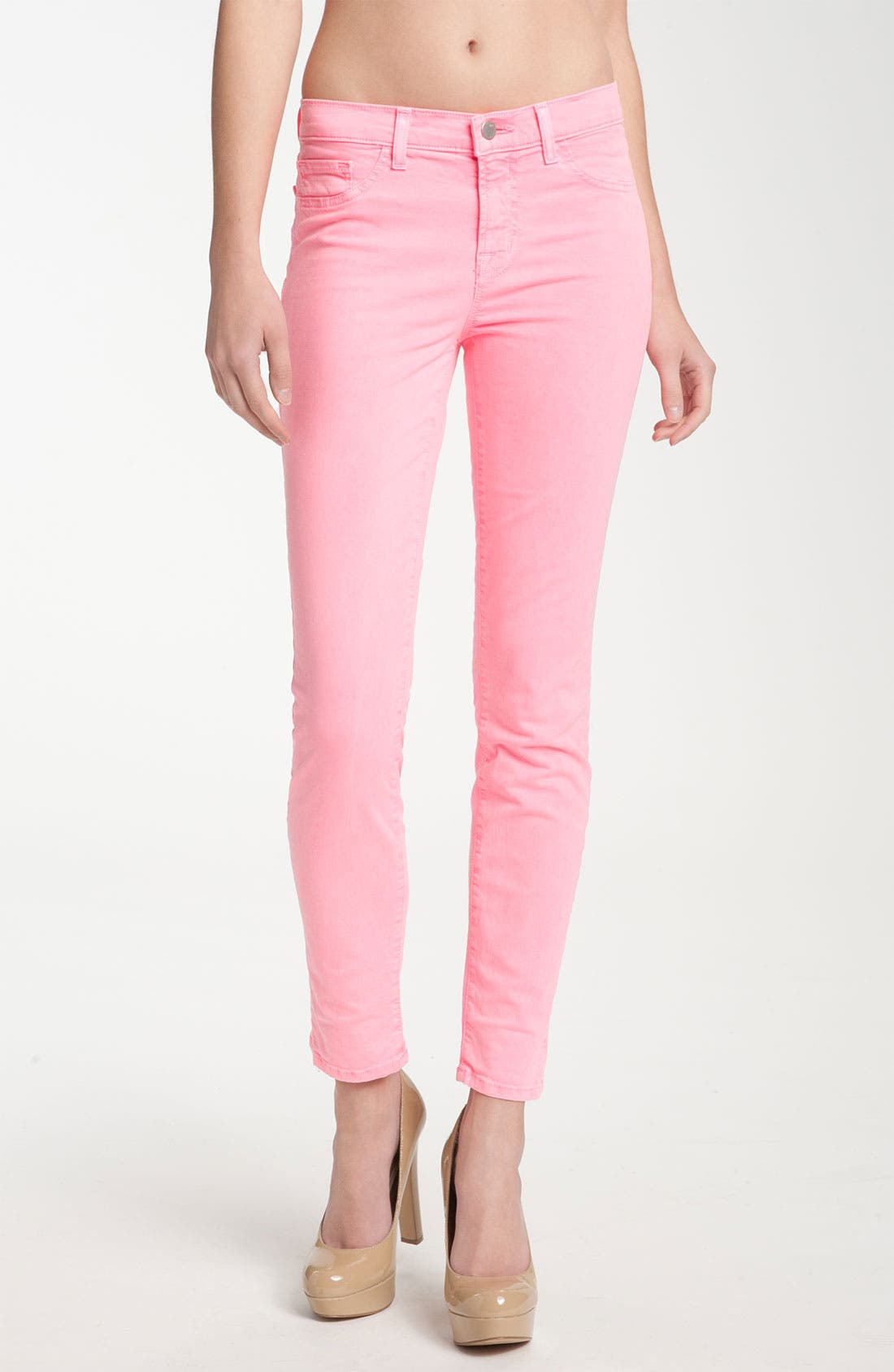 Skinny Stretch Twill Pants,                         Main,                         color, Neon Pink