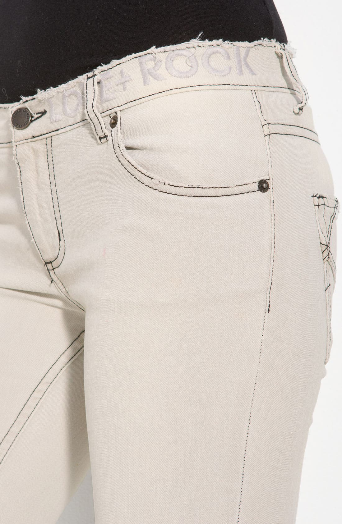 'Darkside' Bleached Skinny Jeans,                             Alternate thumbnail 3, color,                             Blanc