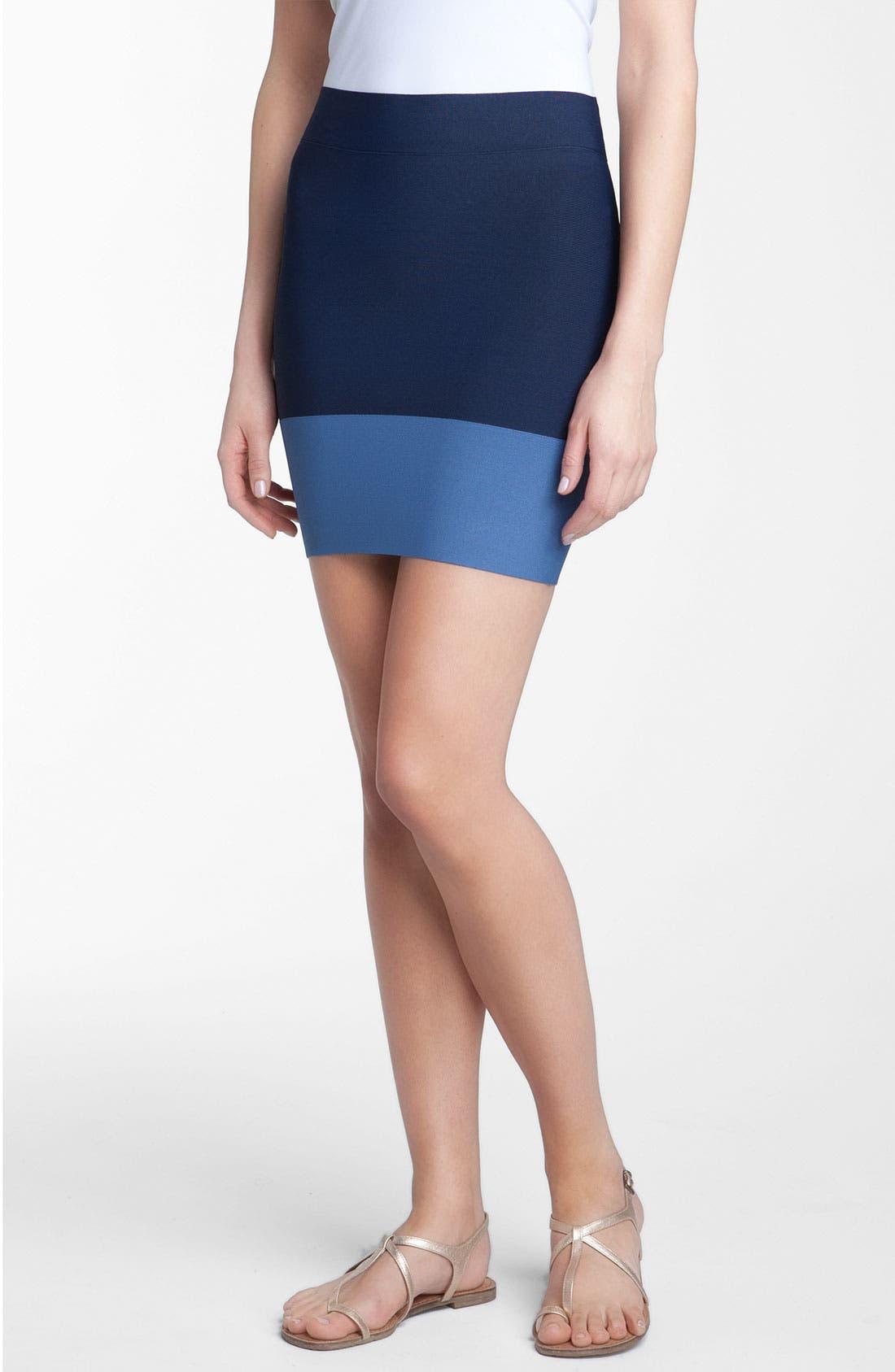 Alternate Image 1 Selected - BCBGMAXAZRIA Colorblock Bandage Skirt