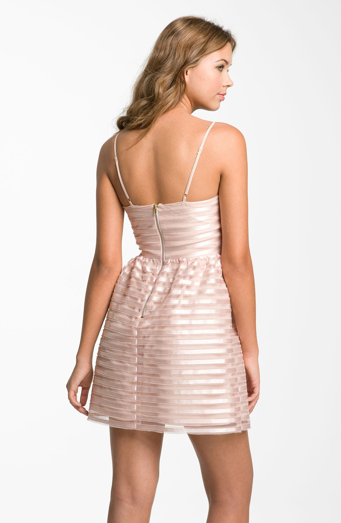 Alternate Image 2  - Necessary Objects Satin Stripe Minidress (Juniors)