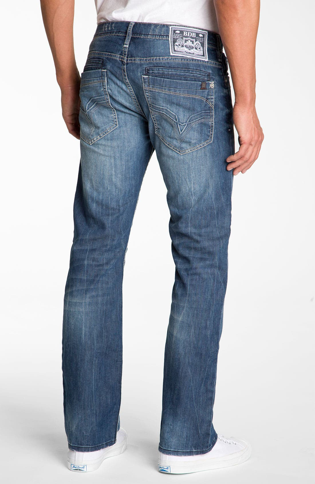 Alternate Image 1 Selected - Buffalo Jeans 'Dixel' Straight Leg Jeans (Aged & Distressed Wash)