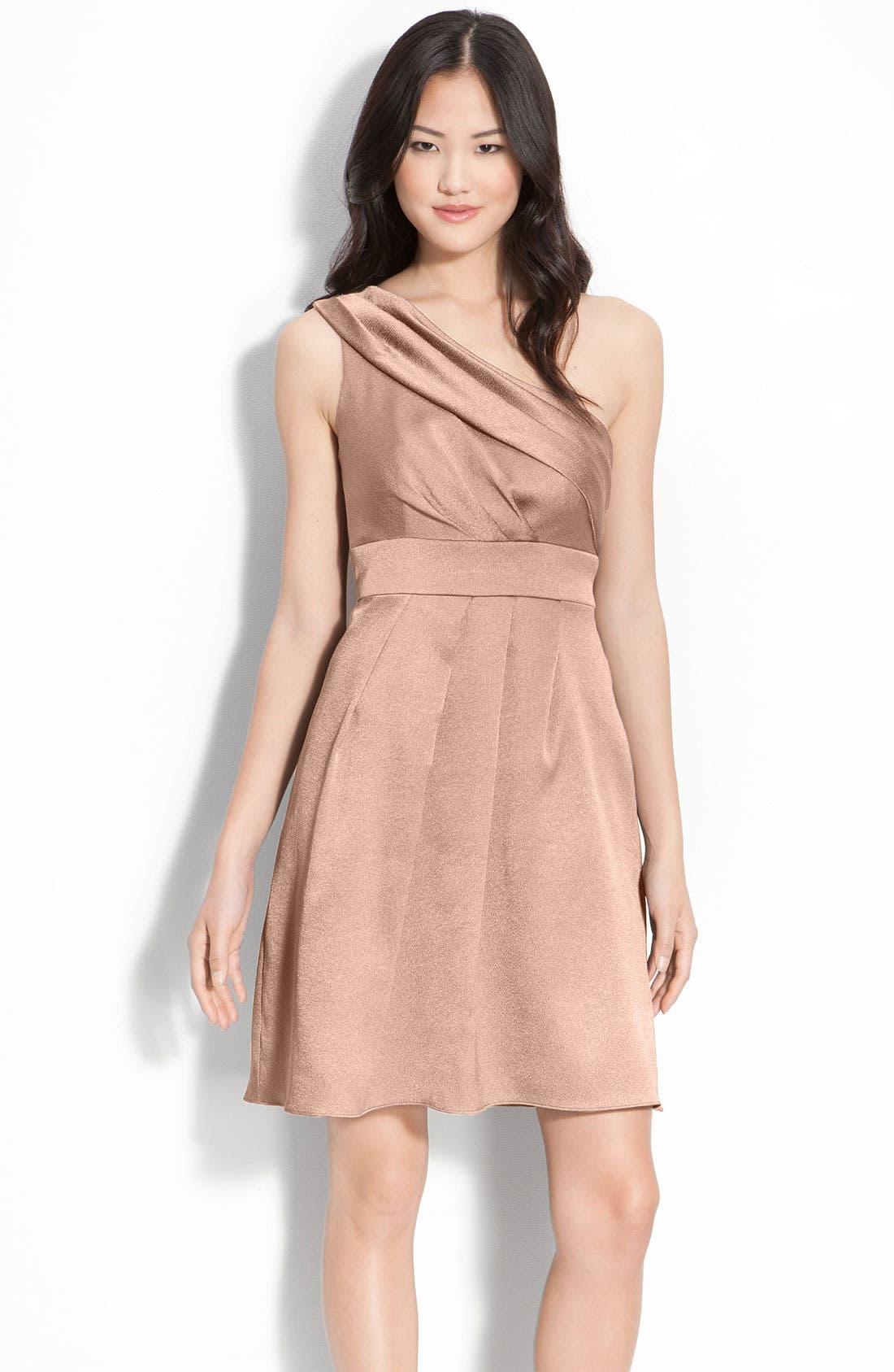 Alternate Image 1 Selected - Jenny Yoo Hammered Satin One Shoulder Dress