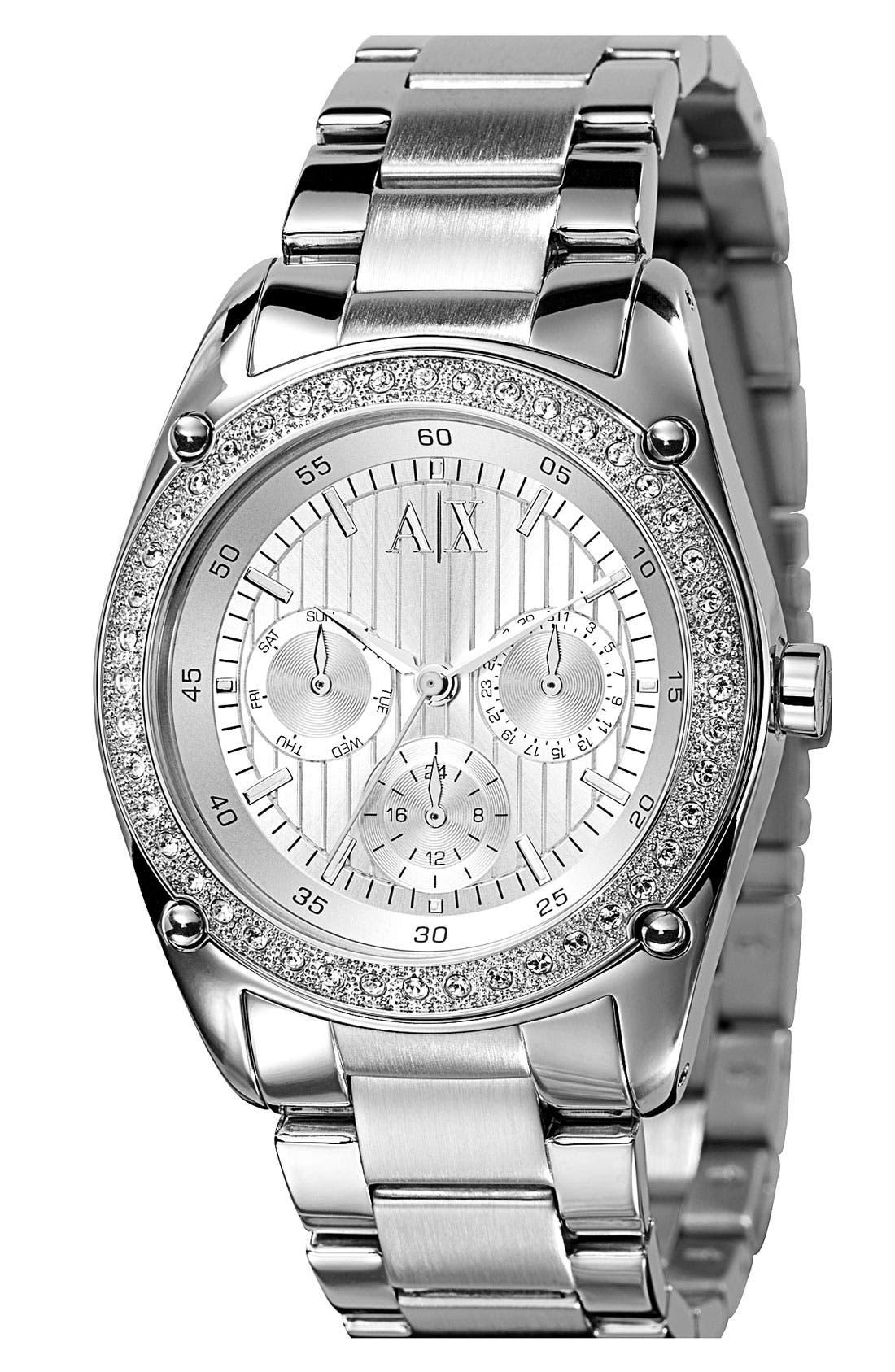 Main Image - AX Armani Exchange Round Crystal Bezel Bracelet Watch, 40mm (Online Only)