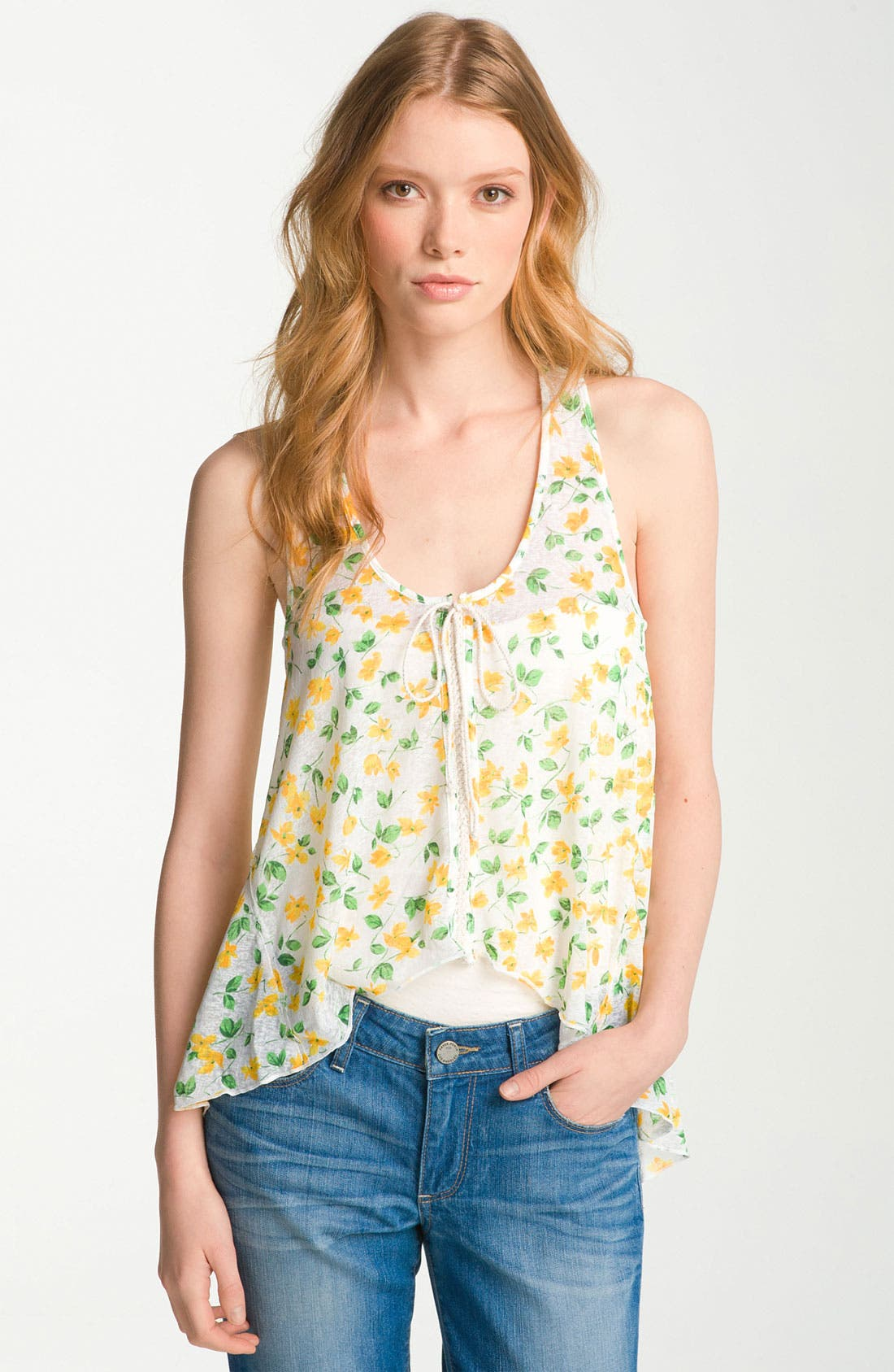 Main Image - Free People 'Izzy' Print Crochet Back Flyaway Tank