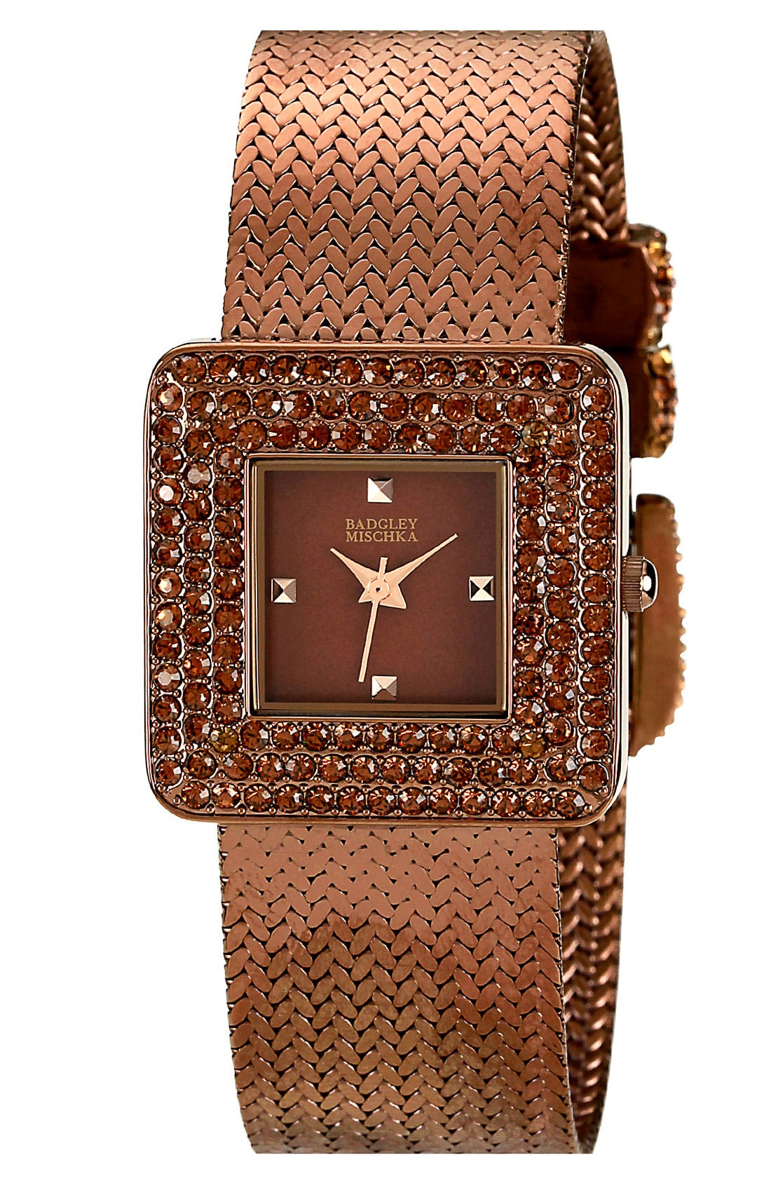 Main Image - Badgley Mischka Crystal Case Mesh Watch