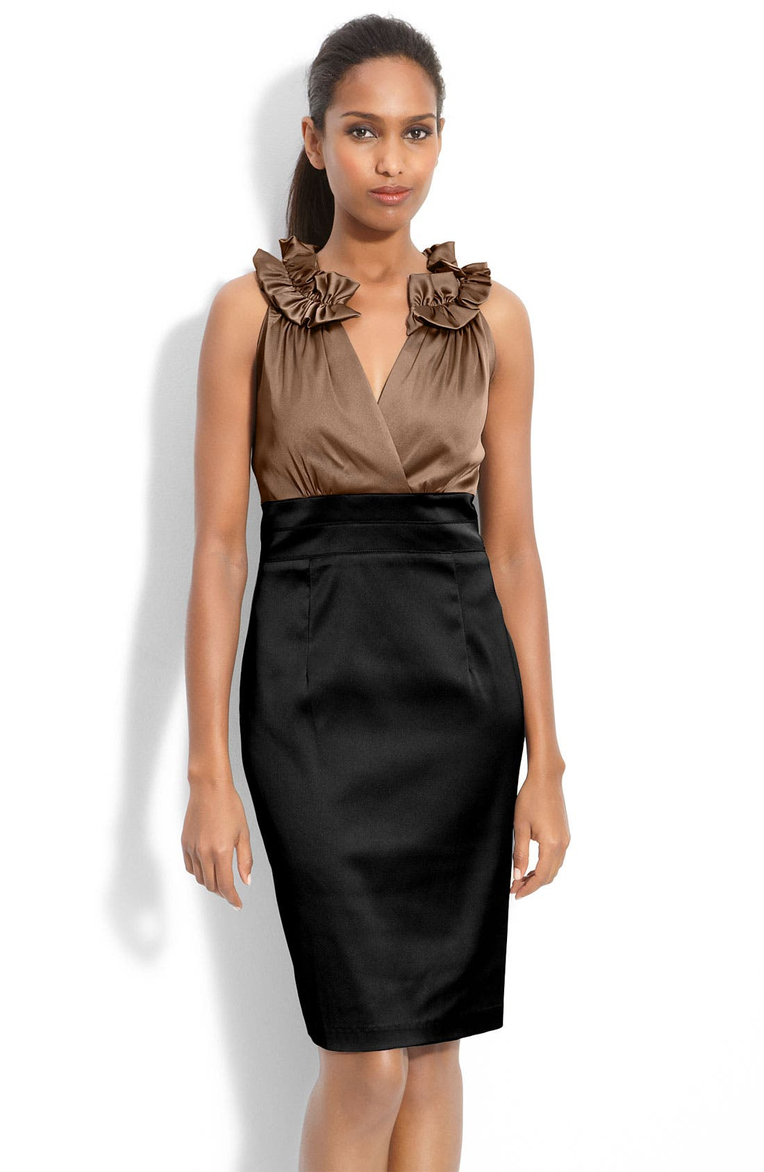 Alternate Image 1 Selected - Donna Ricco Pleat Trim Mock Two-Piece Sheath Dress (Regular & Petite)