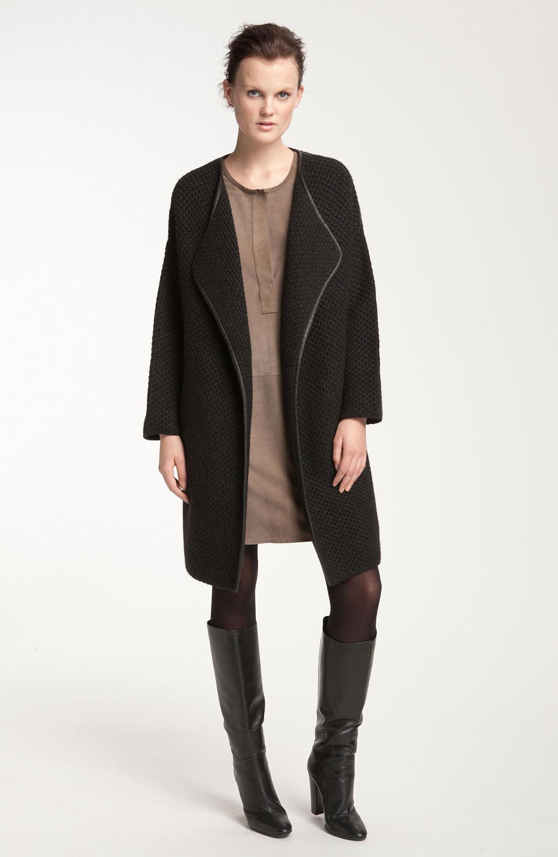 Alternate Image 1 Selected - Vince Leather Trim Wool Coat