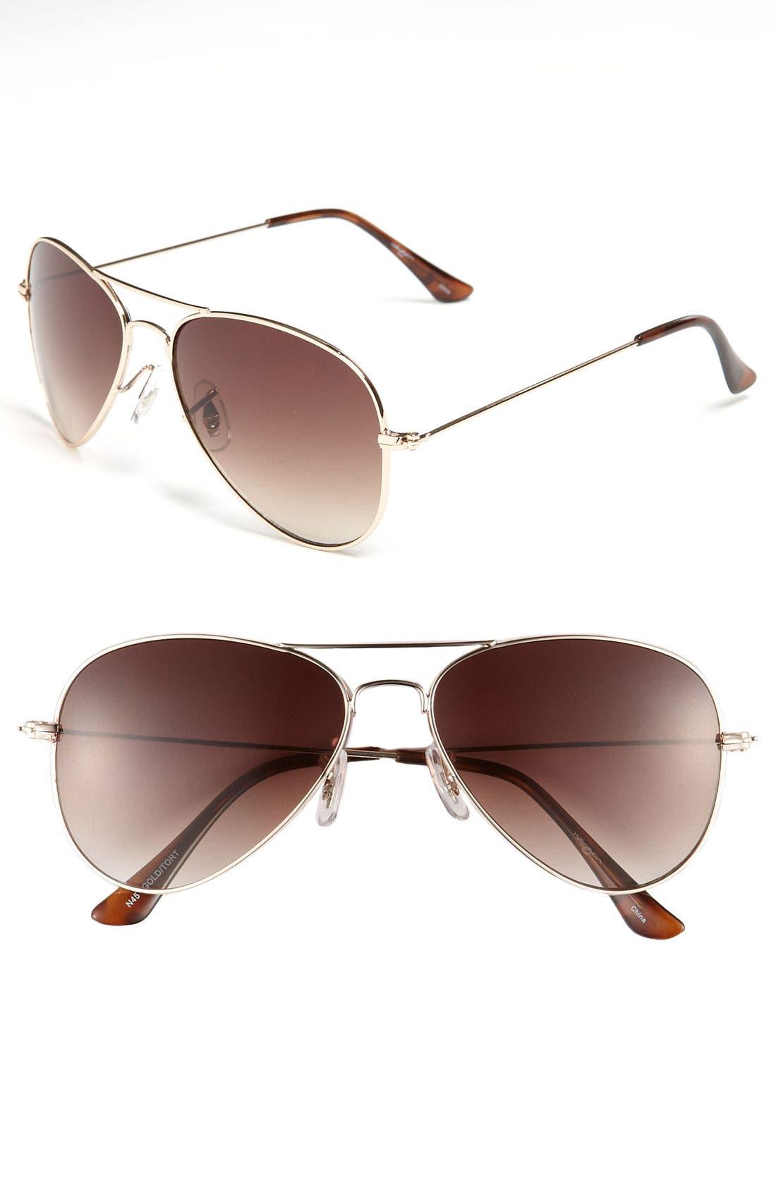 Main Image - Halogen® Aviator Sunglasses