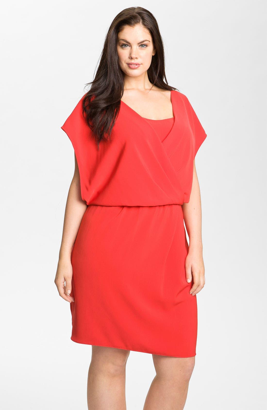 Alternate Image 1 Selected - DKNYC Cap Sleeve Blouson Knit Dress (Plus)