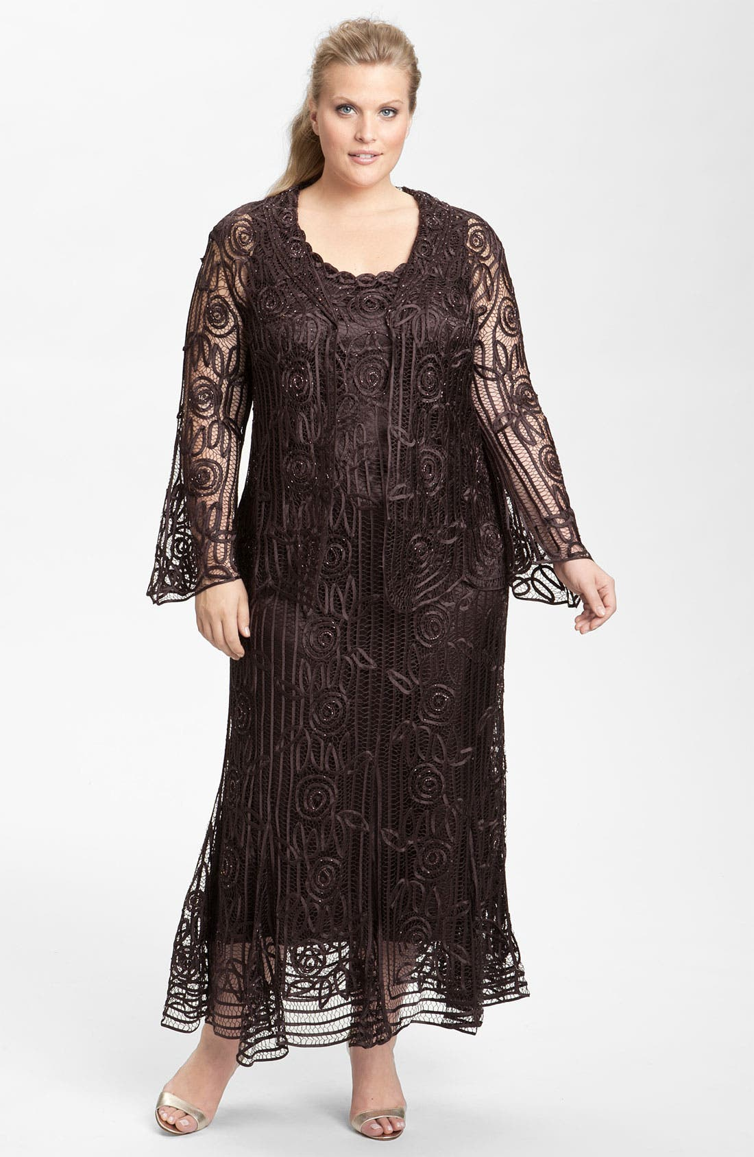 Alternate Image 1 Selected - Soulmates Ribbon Silk Dress & Jacket (Plus Size)