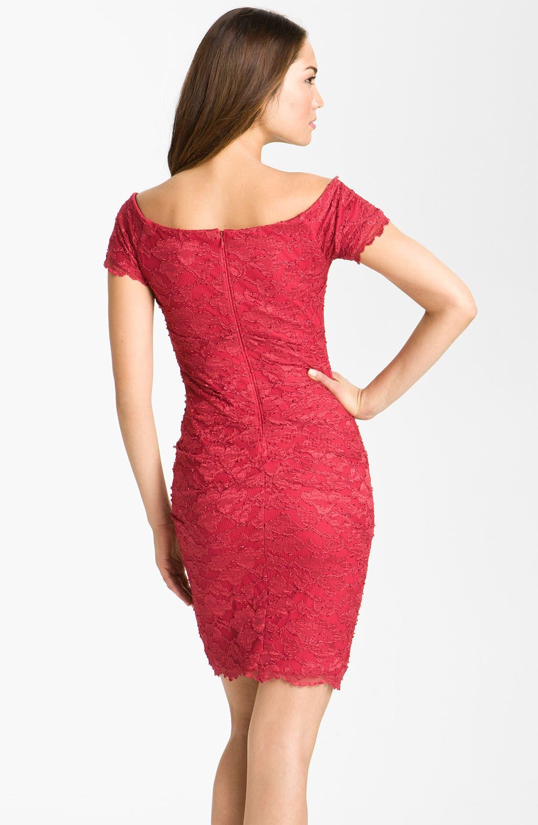 Alternate Image 2  - Betsy & Adam Square Neck Lace Overlay Sheath Dress